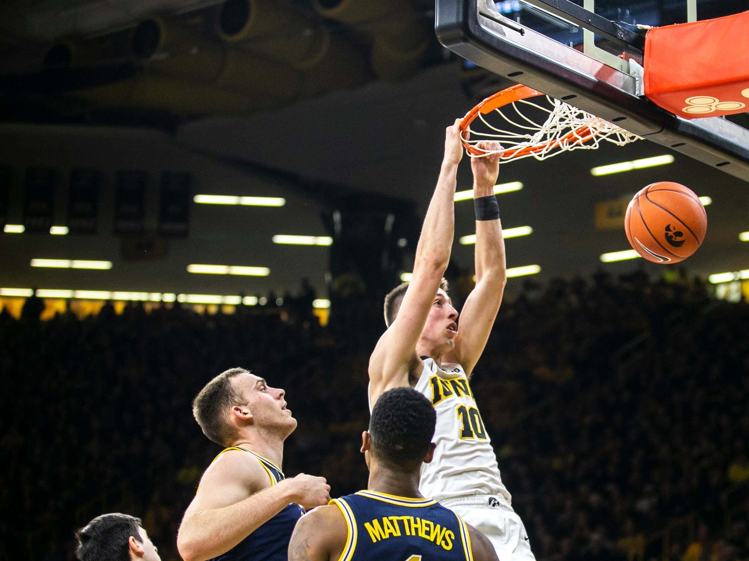 Iowa guard Joe Wieskamp (10) dunks during a NCAA Big Ten Conference men's basketball game on Friday, Feb. 1, 2019, at Carver-Hawkeye Arena in Iowa City, Iowa.