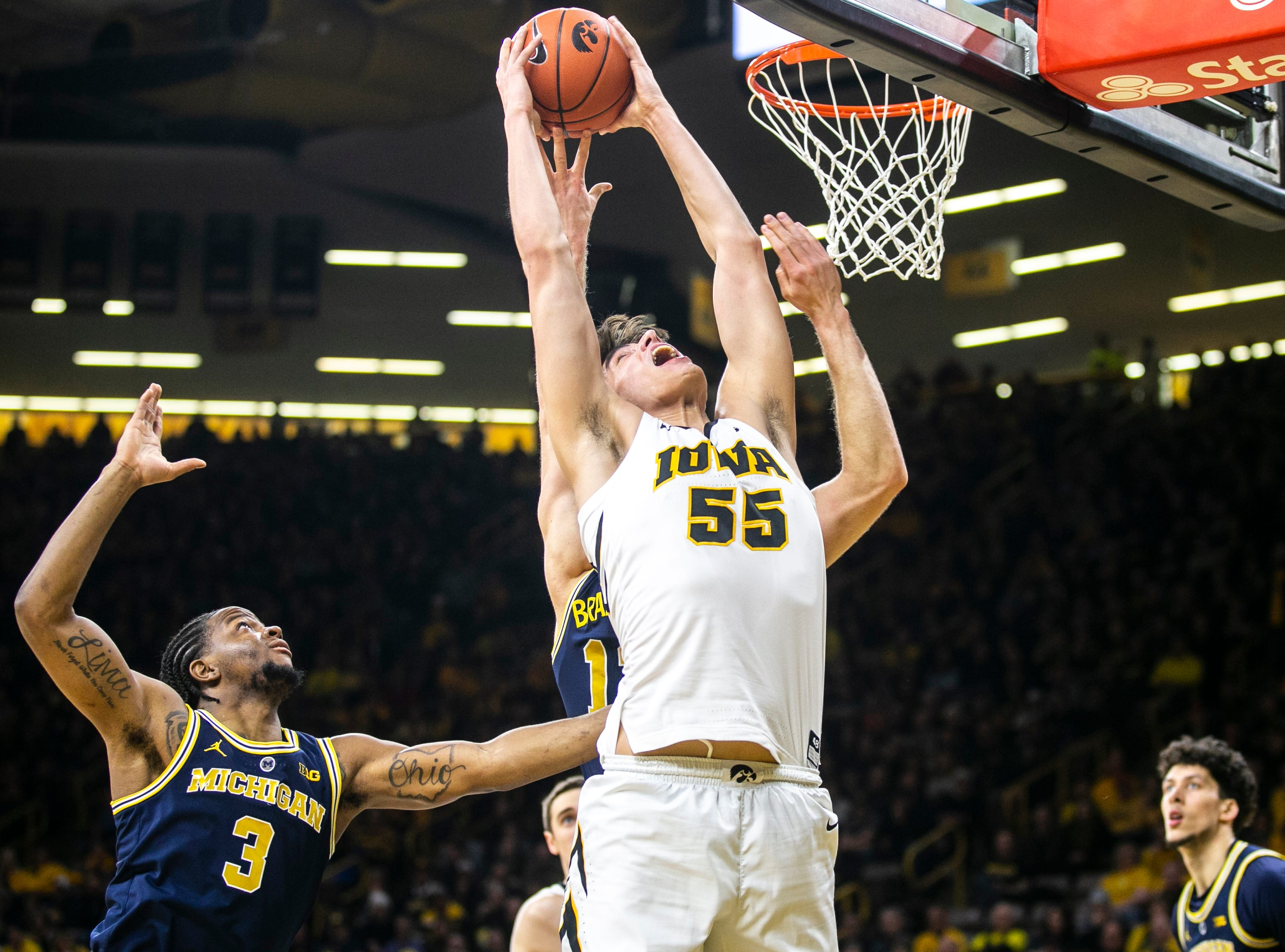 Iowa forward Luka Garza (55) during a NCAA Big Ten Conference men's basketball game on Friday, Feb. 1, 2019, at Carver-Hawkeye Arena in Iowa City, Iowa.