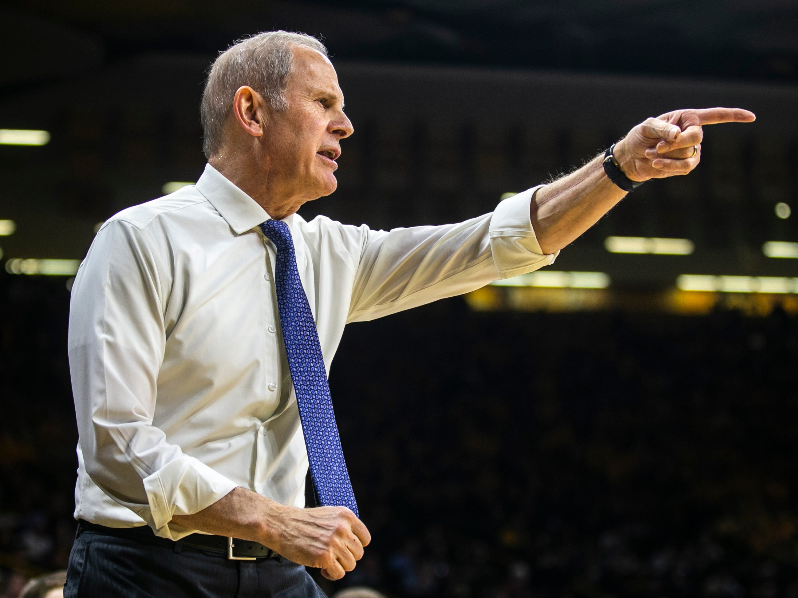 Michigan head coach Jim Beilein calls out to players during a NCAA Big Ten Conference men's basketball game on Friday, Feb. 1, 2019, at Carver-Hawkeye Arena in Iowa City, Iowa.