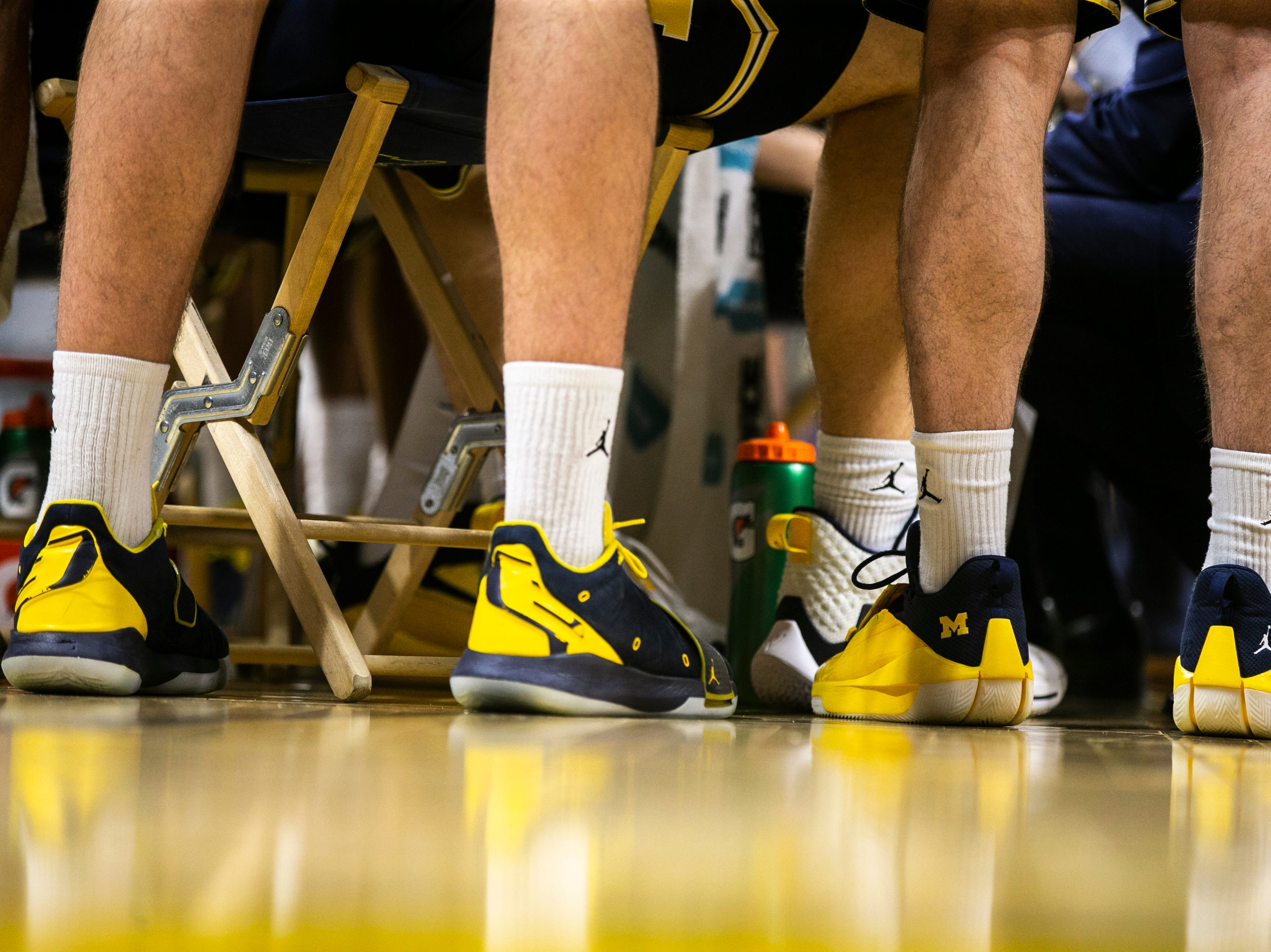 Michigan Wolverines huddle up in a timeout during a NCAA Big Ten Conference men's basketball game on Friday, Feb. 1, 2019, at Carver-Hawkeye Arena in Iowa City, Iowa.