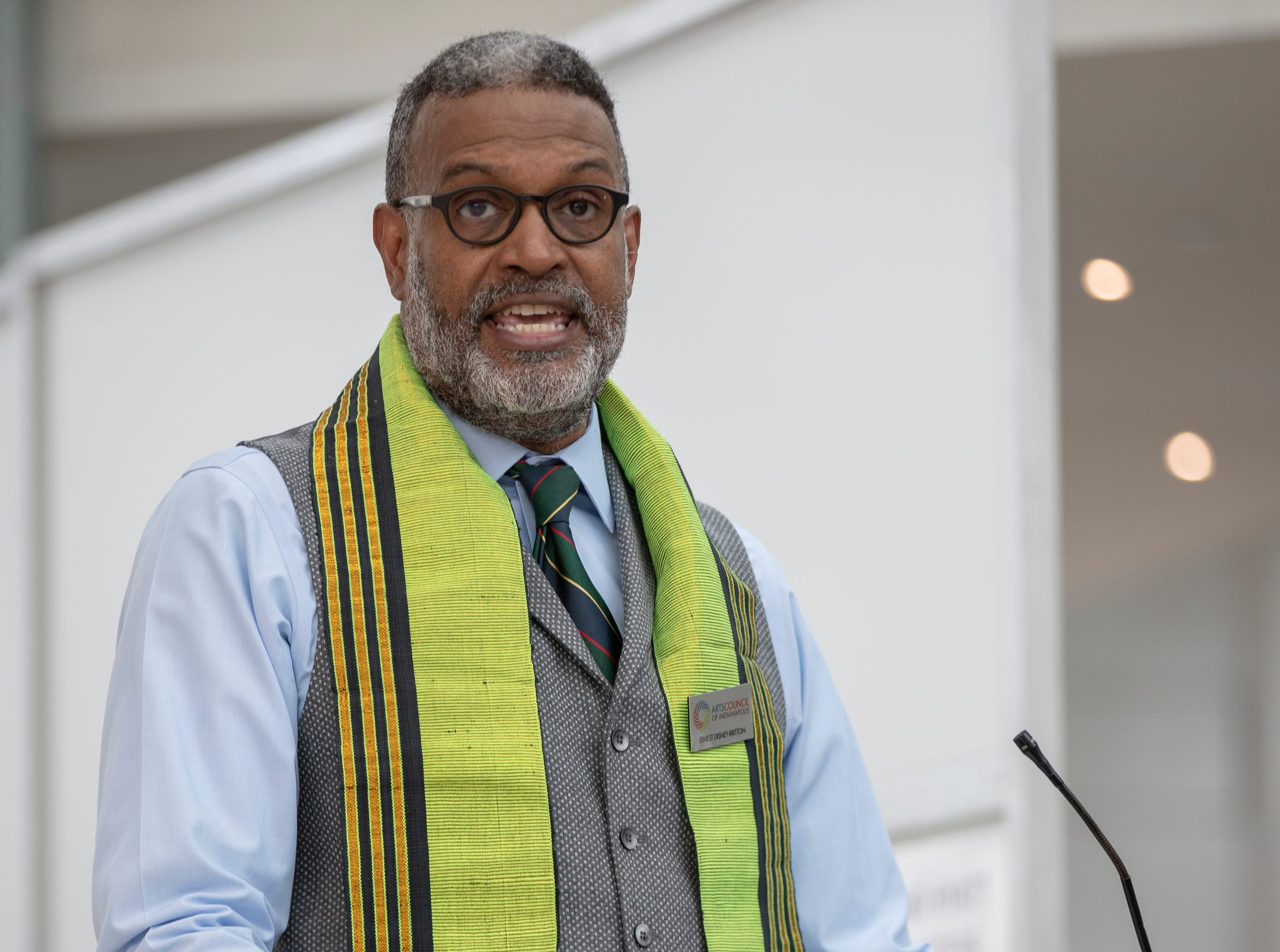 Ernest Disney-Britton, with the Arts Council of Indianapolis, gives the welcoming speech at the 2019 Art and Soul kickoff celebration at the Indianapolis Arts Garden, Indianapolis, Saturday, Feb. 2, 2019.