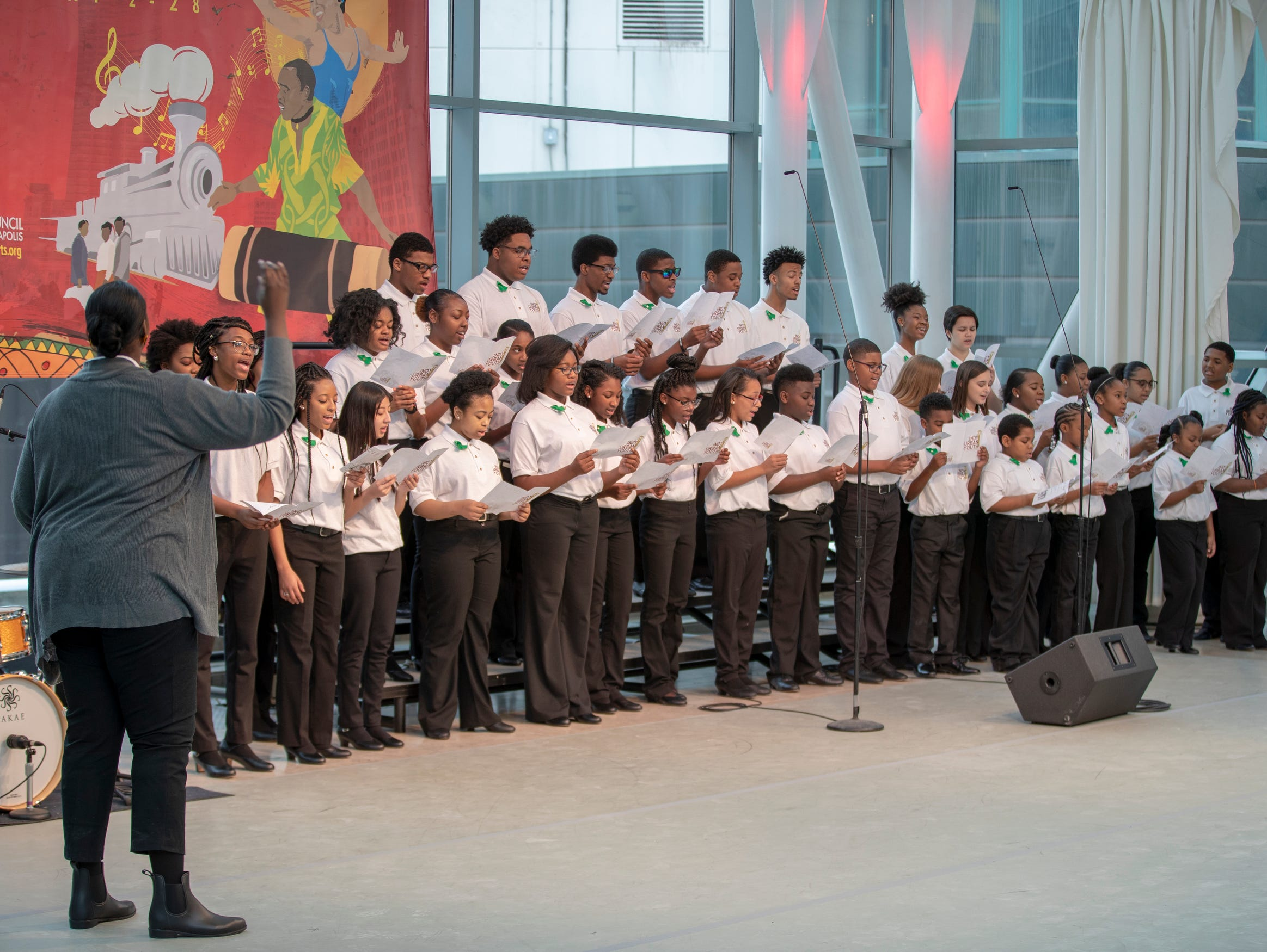 """The Indy Urban Youth Choir sings """"Lift Every Voice and Sing"""" at the 2019 Art and Soul kickoff celebration at the Indianapolis Arts Garden, Indianapolis, Saturday, Feb. 2, 2019."""