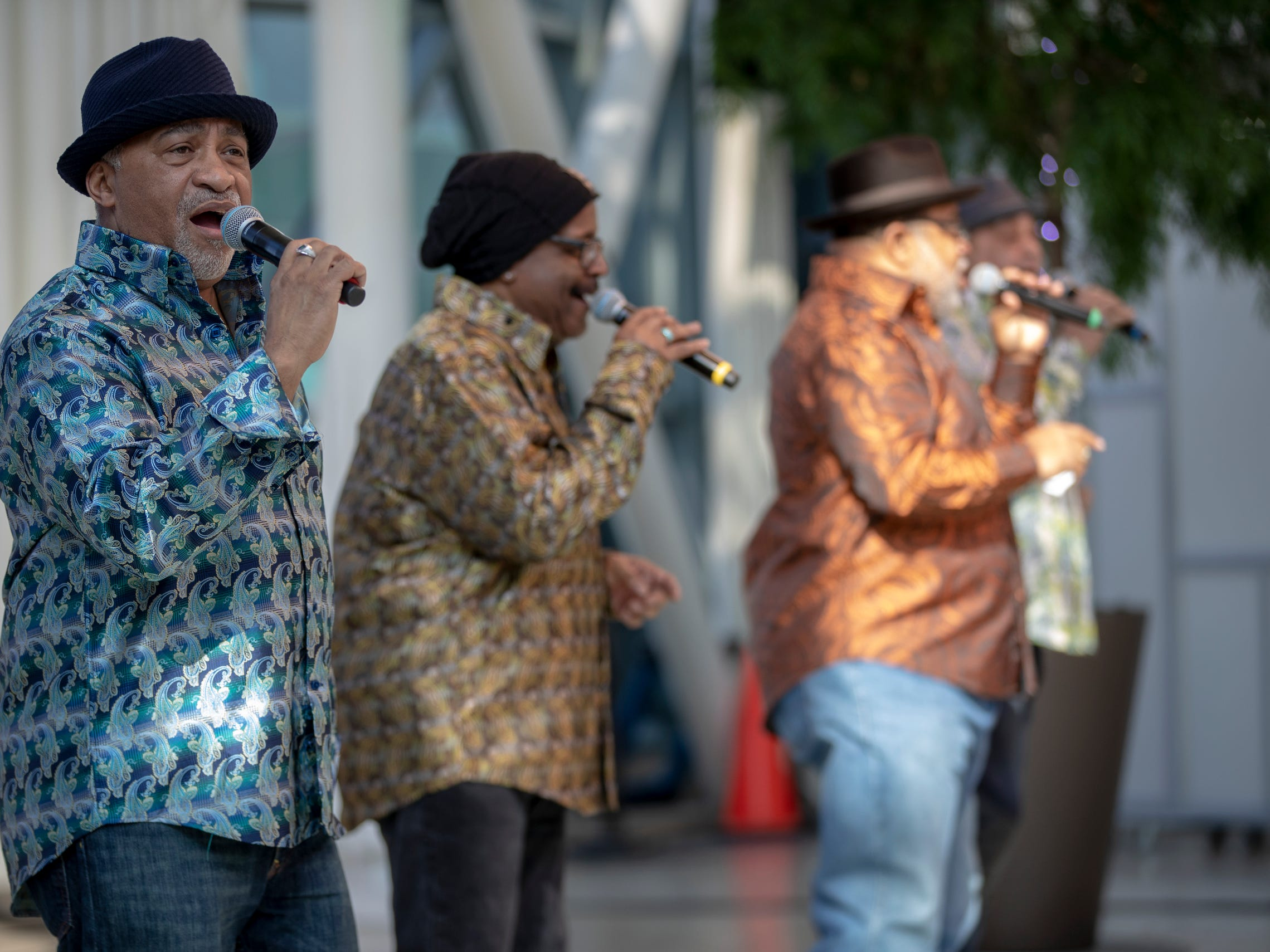 Vocal group Men in the Fire sing during the 2019 Art and Soul kickoff celebration at the Indianapolis Arts Garden, Indianapolis, Saturday, Feb. 2, 2019.