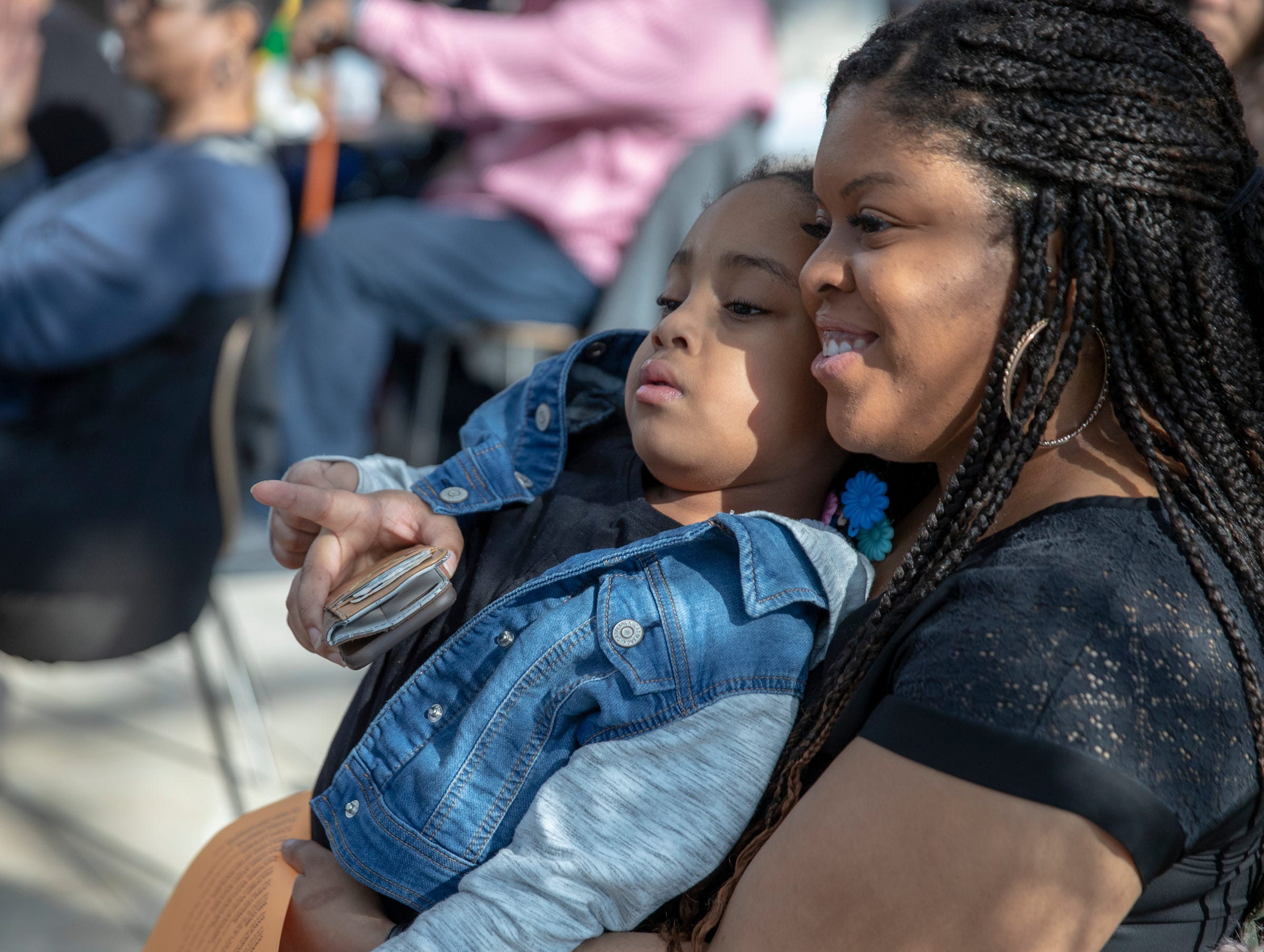 Evan Sanders with her daughter Payton Brown, 5, Indianapolis, at the 2019 Art and Soul kickoff celebration at the Indianapolis Arts Garden, Indianapolis, Saturday, Feb. 2, 2019.