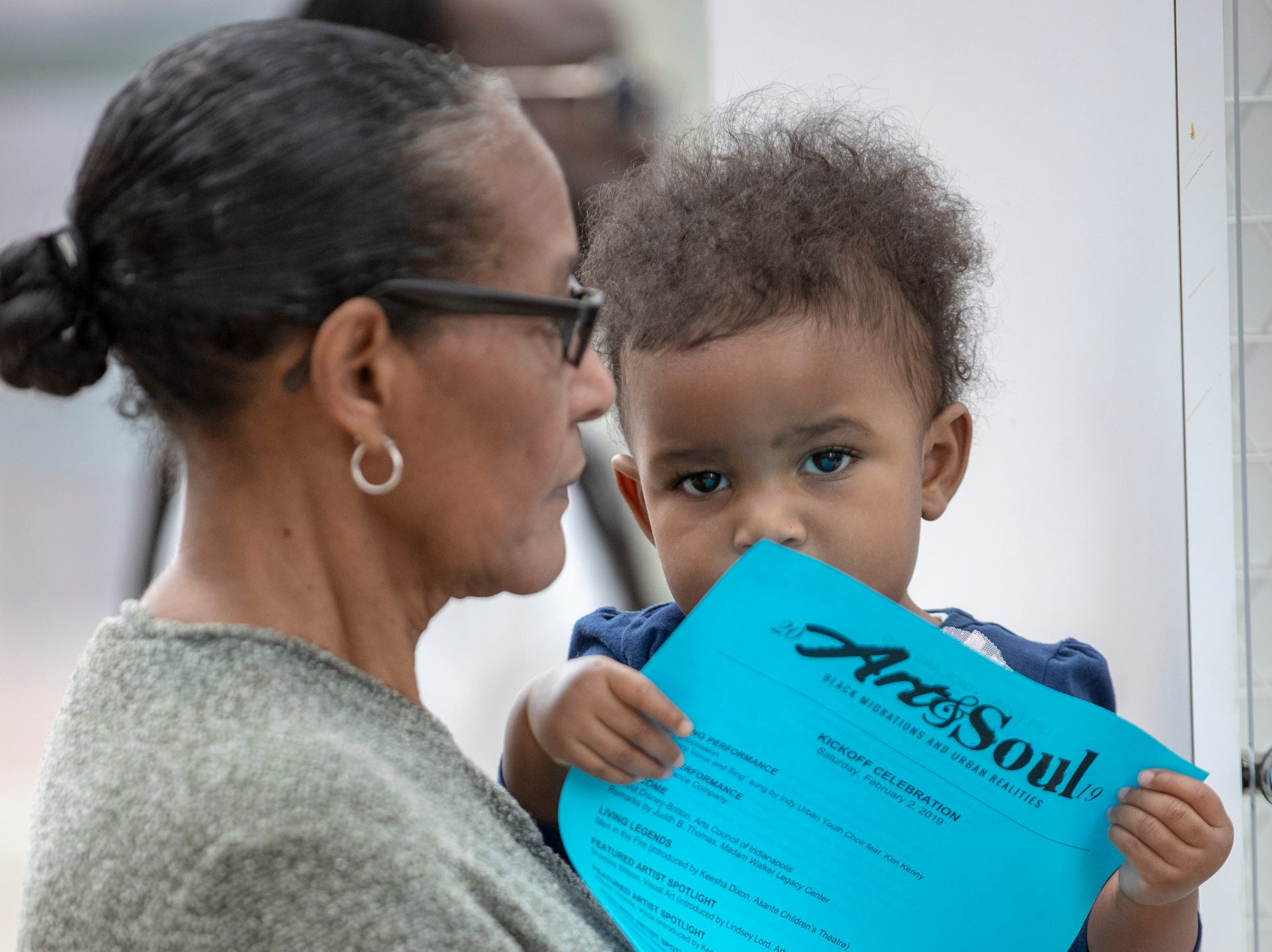 Paulette Dawson holds her granddaughter Madelyn Johnson, 1, both of Indianapolis, at the 2019 Art and Soul kickoff celebration at the Indianapolis Arts Garden, Indianapolis, Saturday, Feb. 2, 2019.