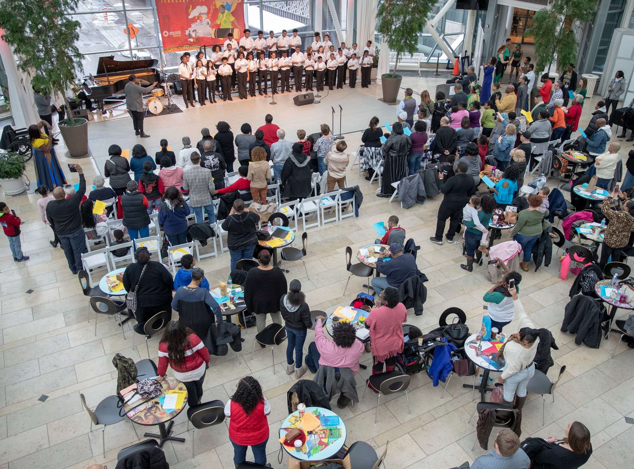 Singers from the Indy Urban Youth Choir kick off the 2019 Art and Soul kickoff celebration at the Indianapolis Arts Garden, Indianapolis, Saturday, Feb. 2, 2019.