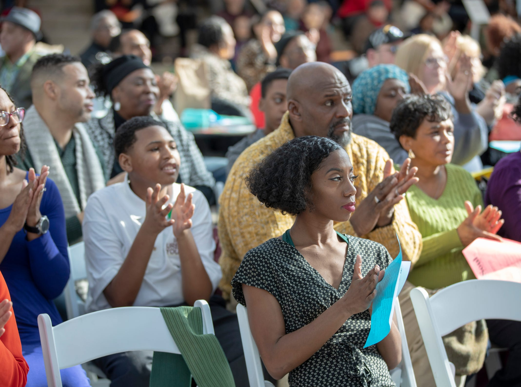 Audience members during the 2019 Art and Soul kickoff celebration at the Indianapolis Arts Garden, Indianapolis, Saturday, Feb. 2, 2019.