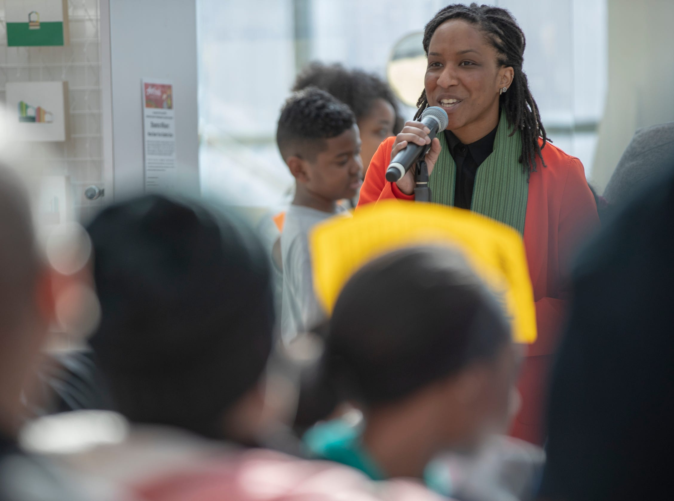 Shamira Wilson talks about her work during the 2019 Art and Soul kickoff celebration at the Indianapolis Arts Garden, Indianapolis, Saturday, Feb. 2, 2019.