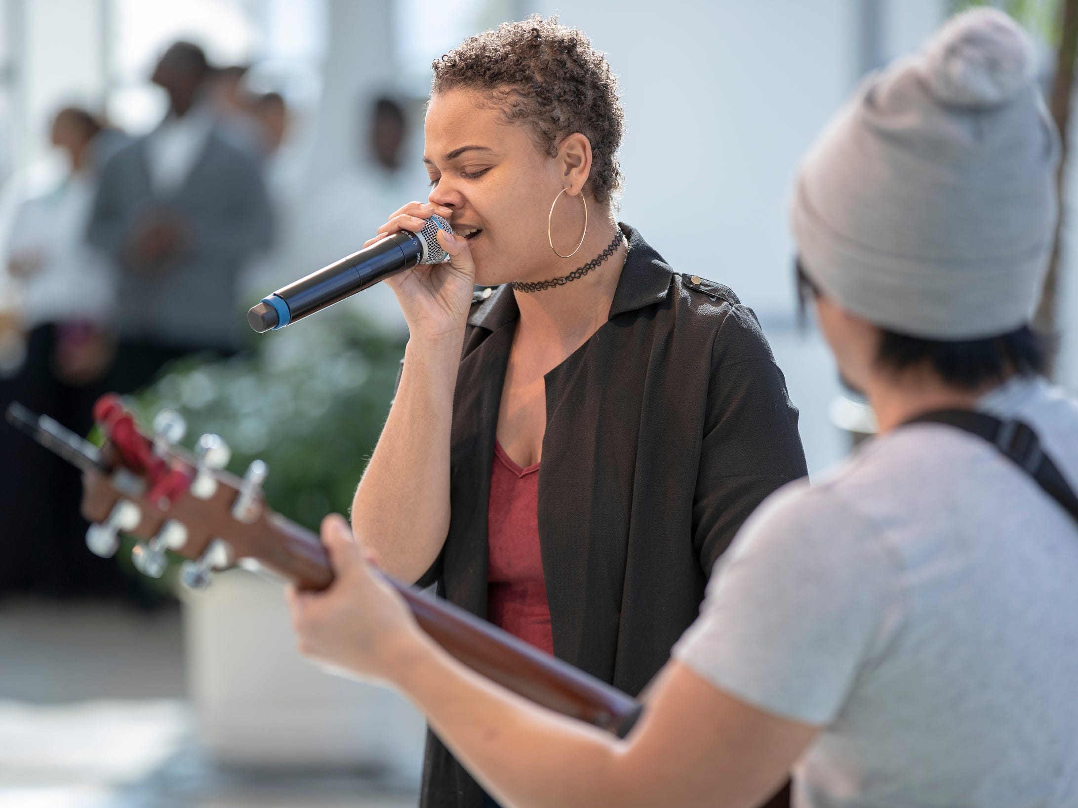Allison Victoria sings during the 2019 Art and Soul kickoff celebration at the Indianapolis Arts Garden, Indianapolis, Saturday, Feb. 2, 2019.