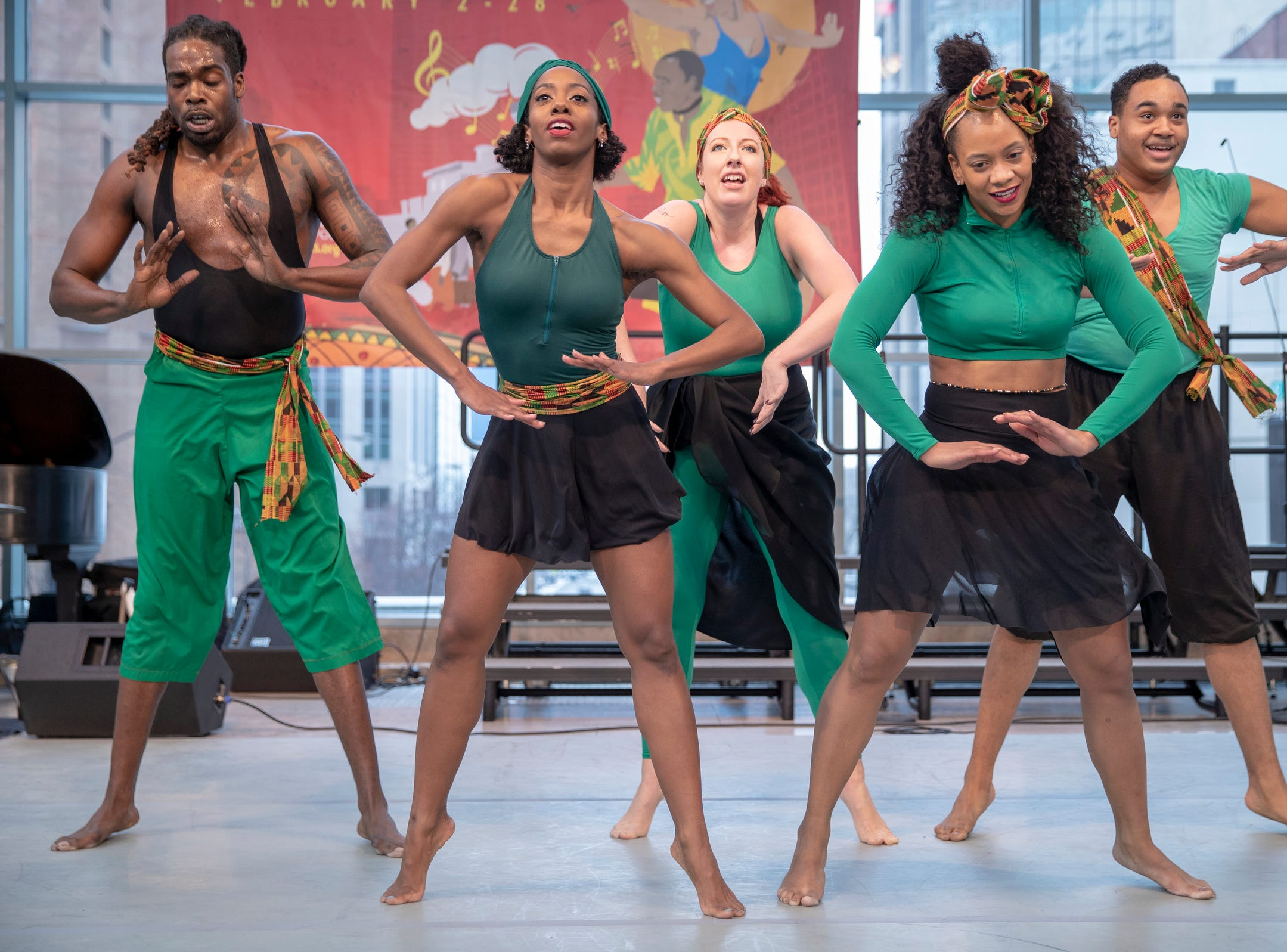 Dancers with the Kenyetta Dance Company work through a performance at the 2019 Art and Soul kickoff celebration at the Indianapolis Arts Garden, Indianapolis, Saturday, Feb. 2, 2019.