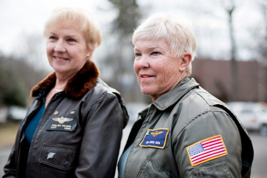 Chris Giza, the second female fighter pilot in the Navy, retired, right, and Joellen Drag Oslund, the first female helicopter pilot, also retired, speak to members of the media ahead of a funeral service for Rosemary Mariner, the US Navy's first female fighter pilot, at Norris United Methodist Church in Norris, Tennessee on Saturday, February 2, 2019. Mariner died January 24th of cancer.