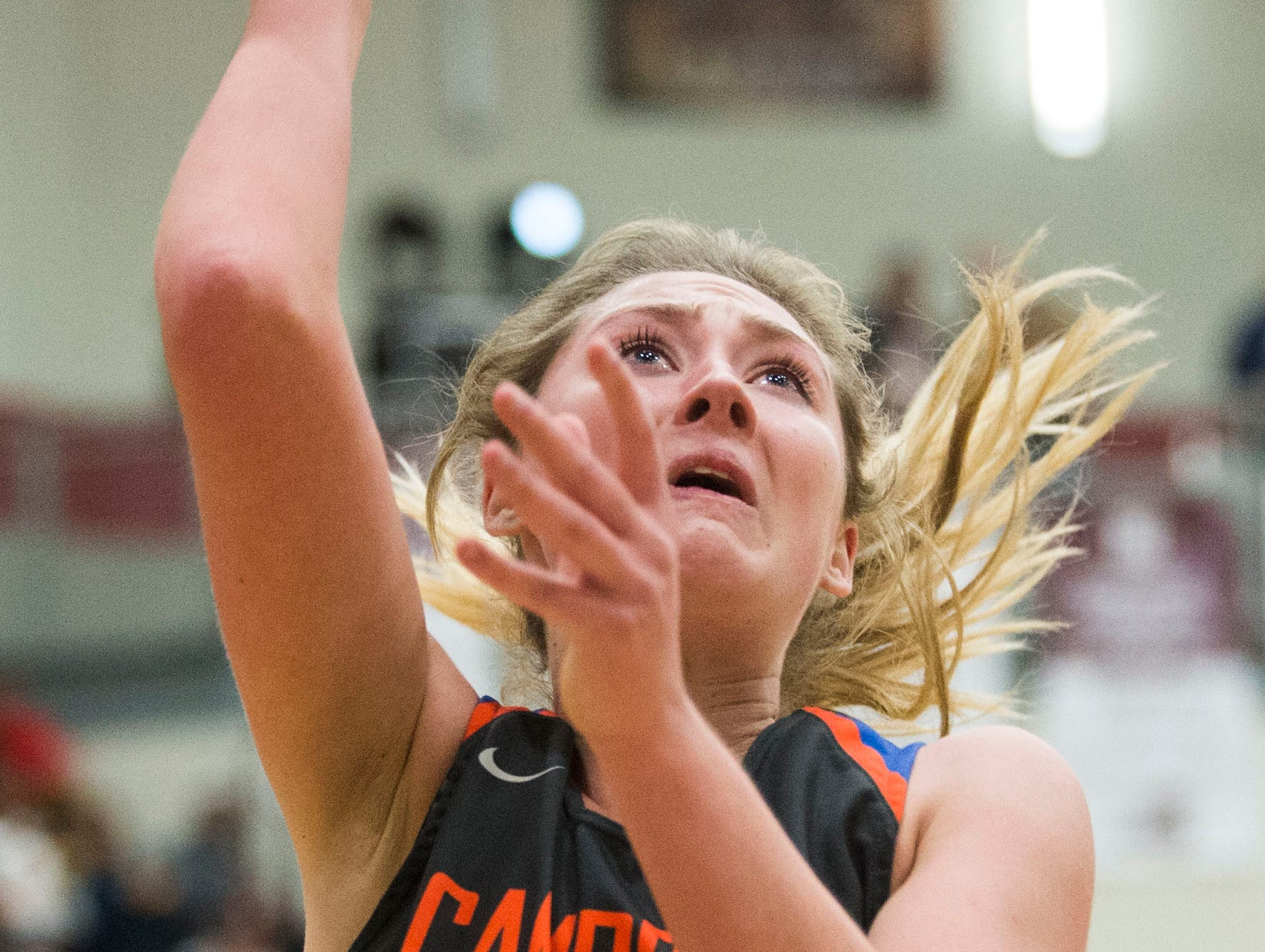 Campbell County's Skylar Boshears (32) takes a shot during a high school basketball game between Oak Ridge and Campbell County at Oak Ridge Friday, Feb. 1, 2019.