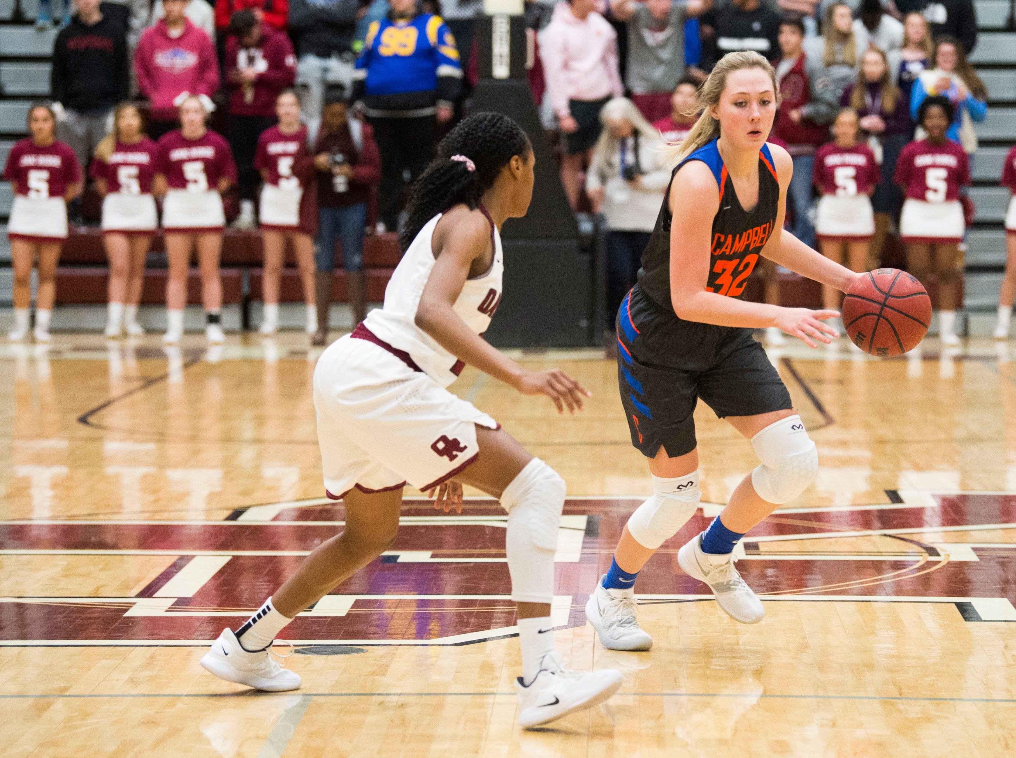 Campbell County's Skylar Boshears (32) runs the ball during a high school basketball game between Oak Ridge and Campbell County at Oak Ridge Friday, Feb. 1, 2019.