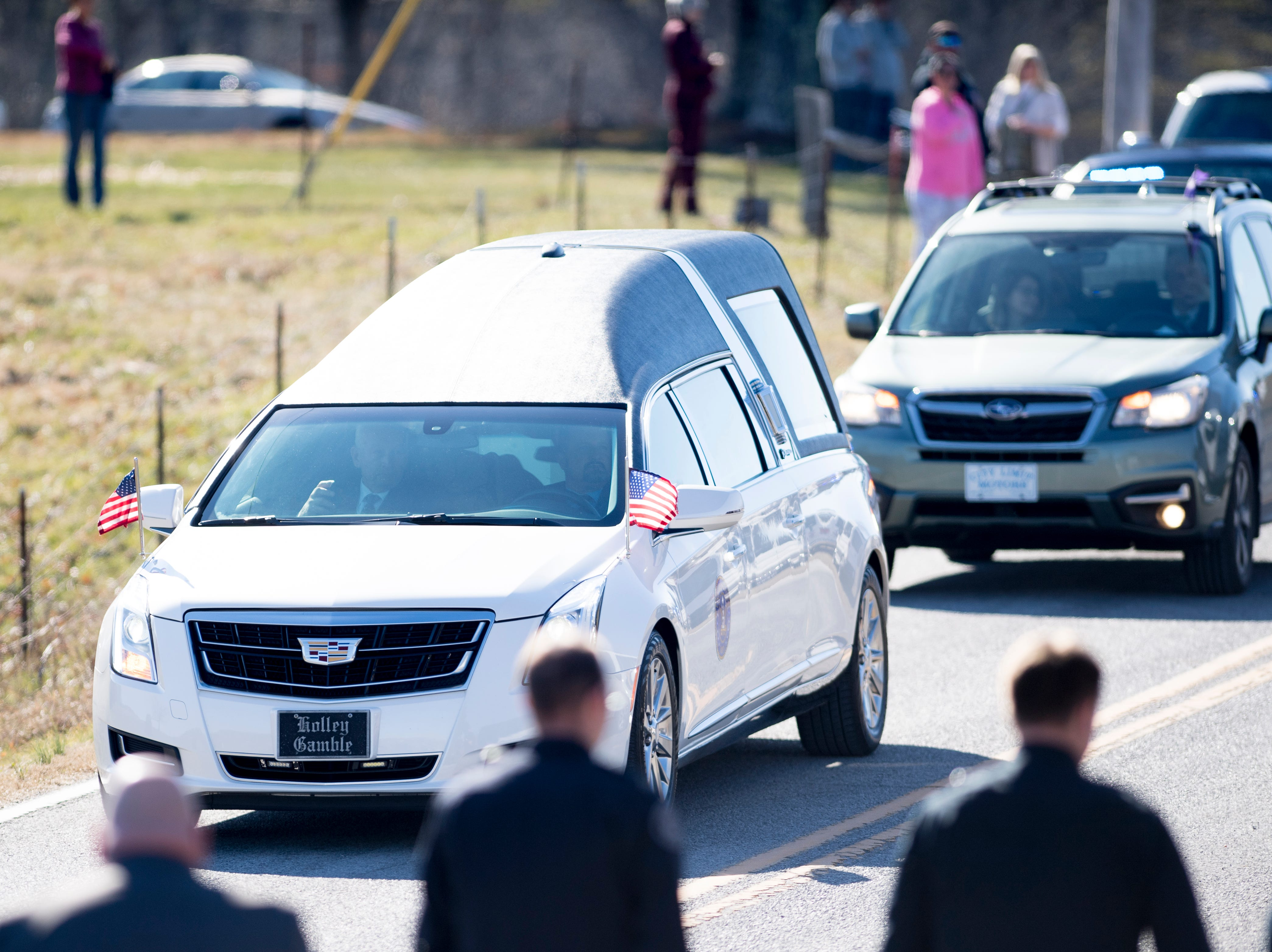 The hearse carrying Rosemary Mariner, the US Navy's first female fighter pilot, arrives to a graveside service at New Loyston Cemetery in Maynardville, Tennessee on Saturday, February 2, 2019. Mariner died January 24th of cancer.