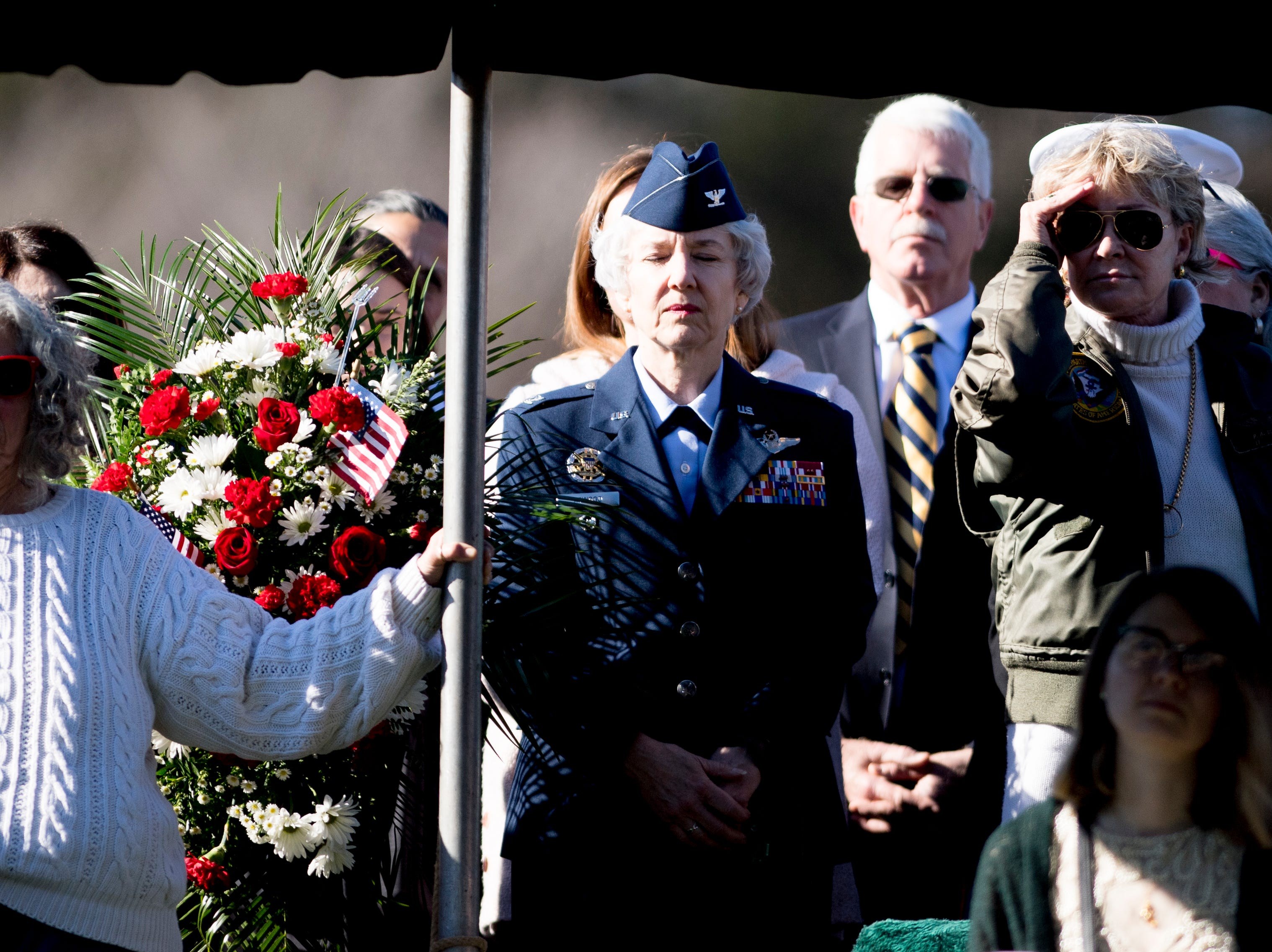 Loved ones and veterans attend a graveside service for Rosemary Mariner, the US Navy's first female fighter pilot, at New Loyston Cemetery in Maynardville, Tennessee on Saturday, February 2, 2019. Mariner died January 24th of cancer.