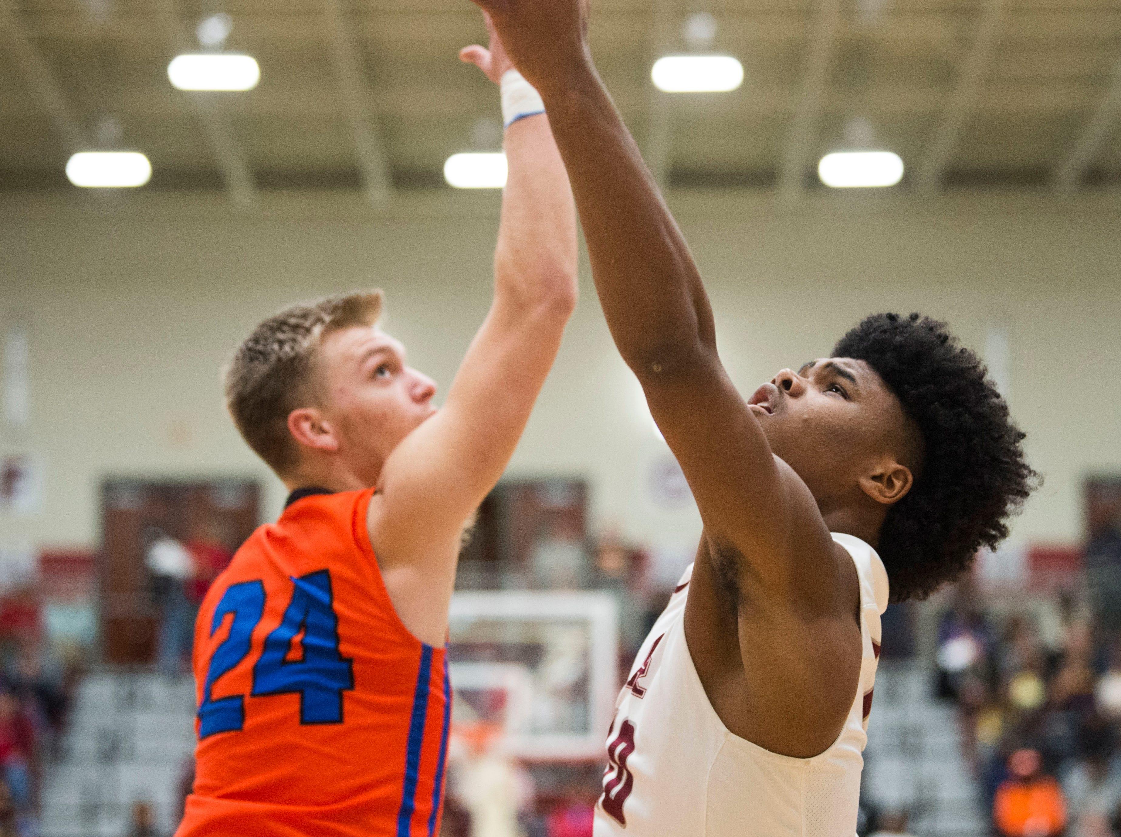 Oak Ridge's Herbert Booker takes a shot during a high school basketball game between Oak Ridge and Campbell County at Oak Ridge Friday, Feb. 1, 2019.