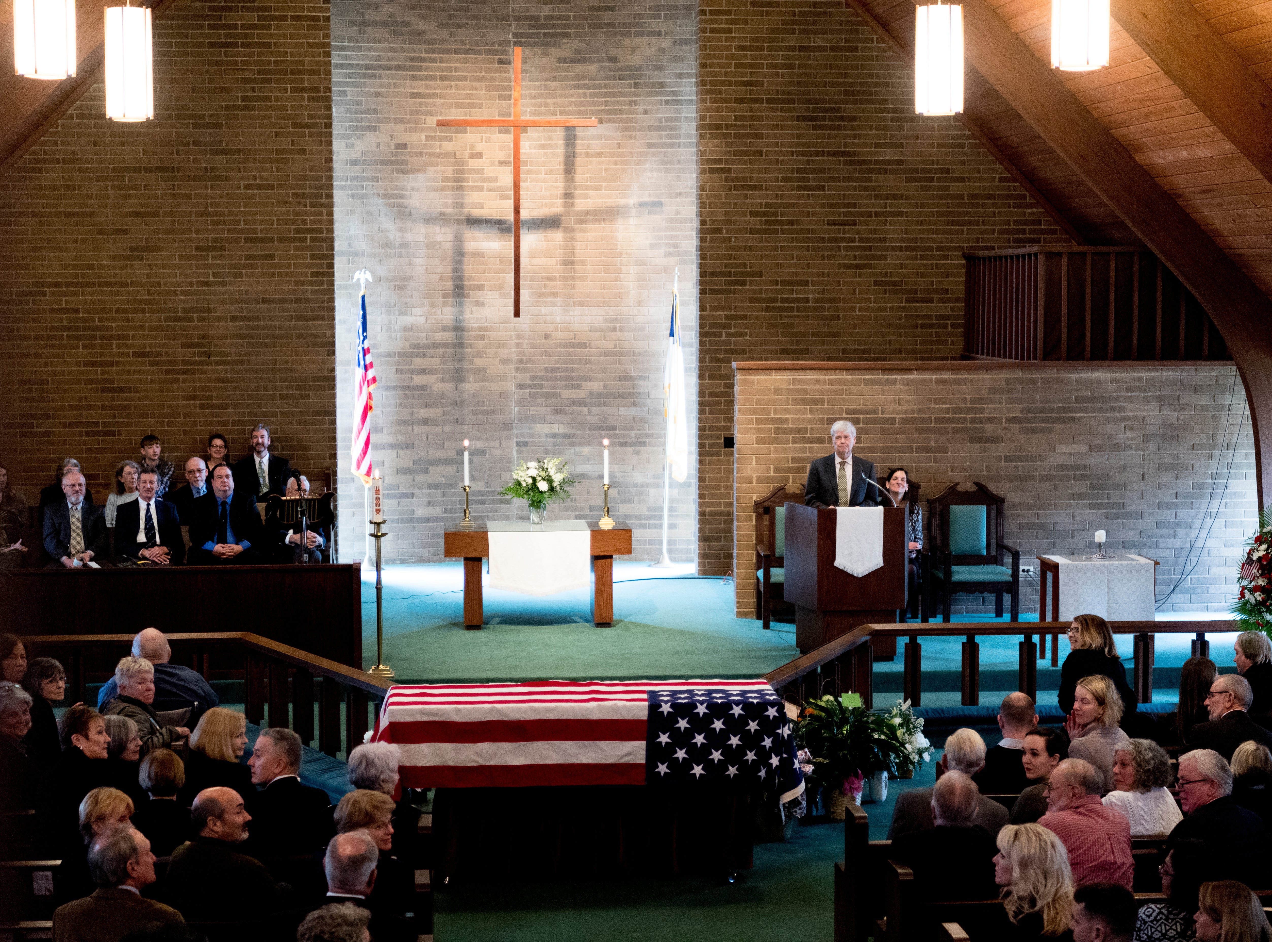 Tommy Mariner speaks during a funeral service for his wife Rosemary Mariner, the US Navy's first female fighter pilot, at Norris United Methodist Church in Norris, Tennessee on Saturday, February 2, 2019. Mariner died January 24th of cancer.