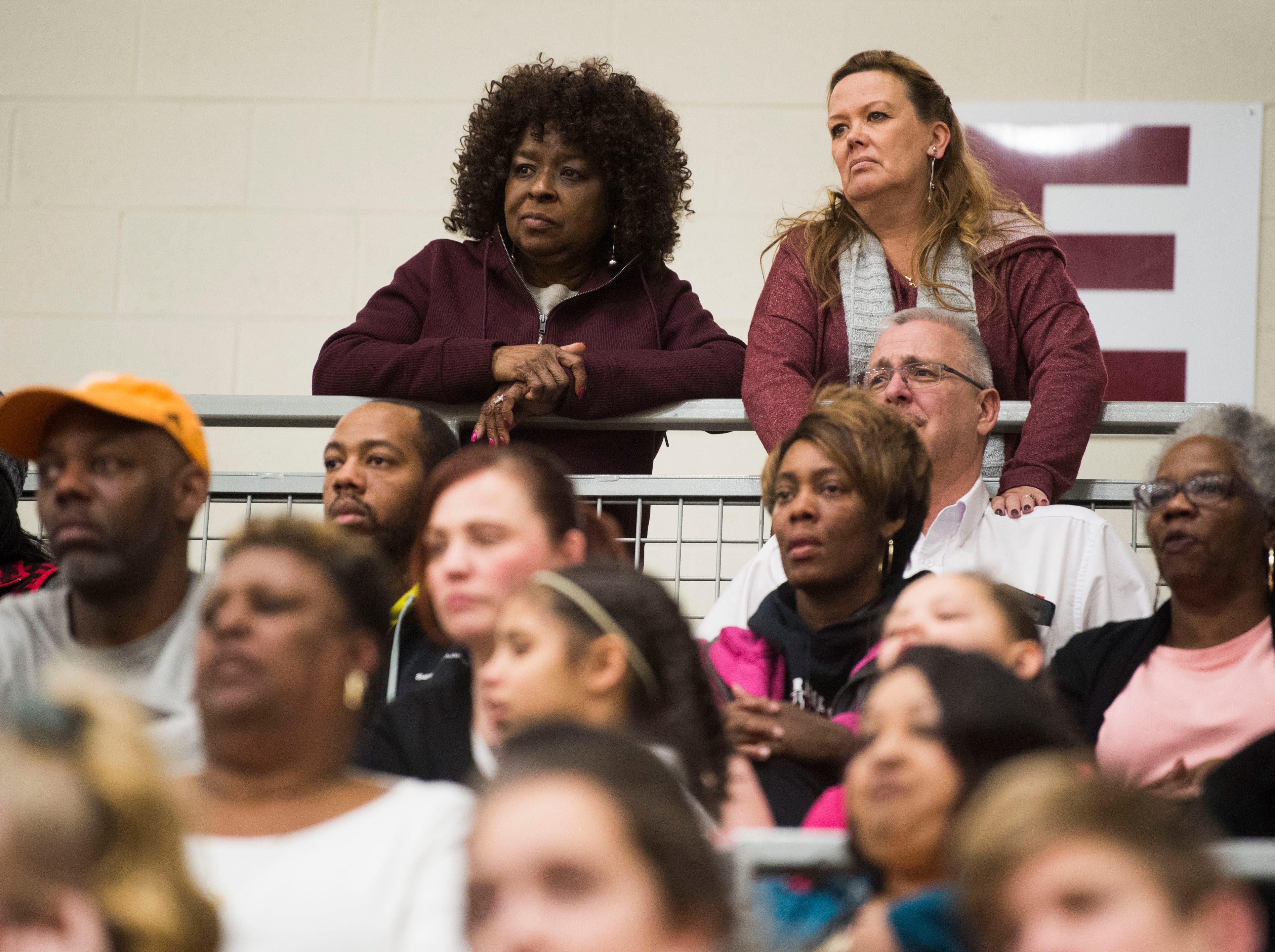 From left Carolyn Colquitt and Susan Varela-King watch during a high school basketball game between Oak Ridge and Campbell County at Oak Ridge Friday, Feb. 1, 2019.