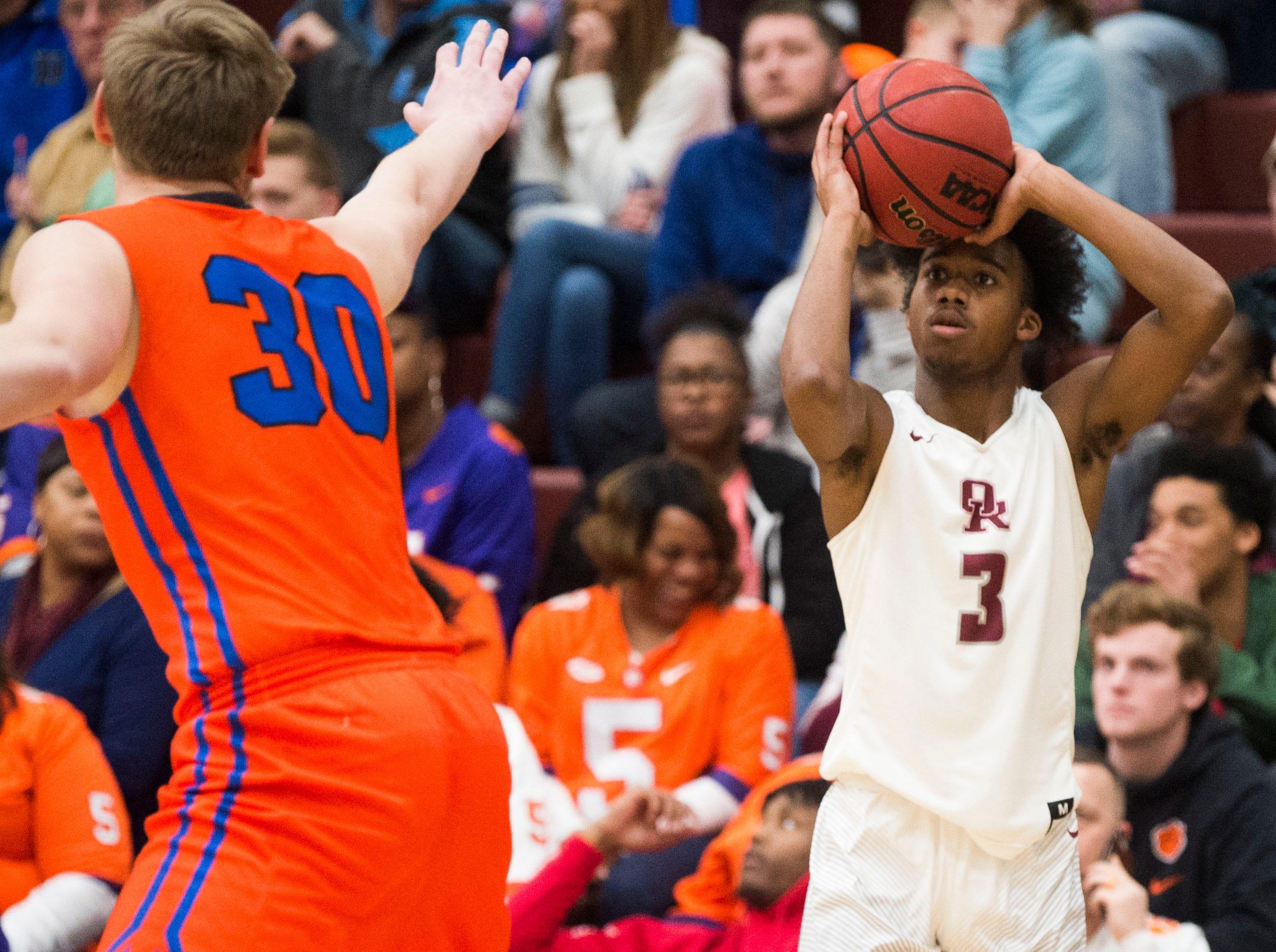 Oak Ridge's JaVonte Thomas (3) takes a shot during a high school basketball game between Oak Ridge and Campbell County at Oak Ridge Friday, Feb. 1, 2019.