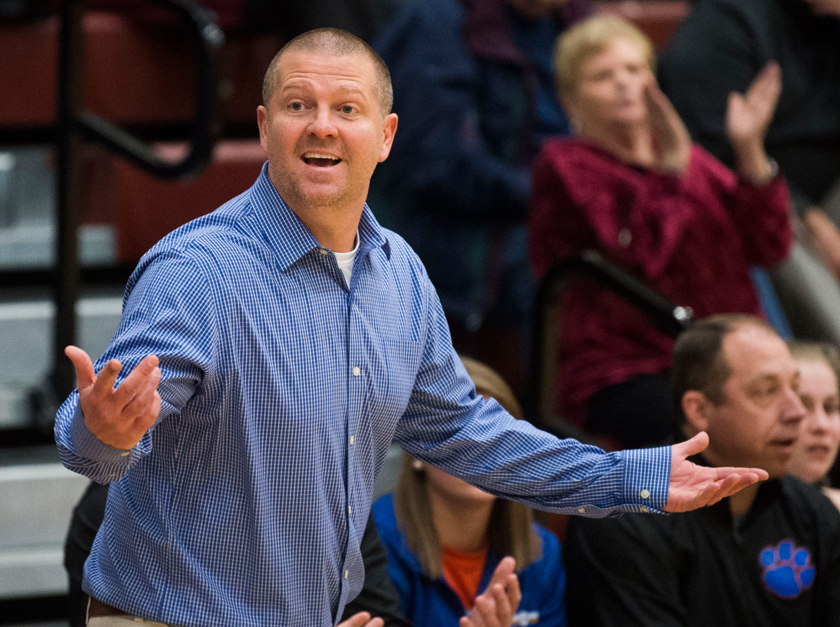 Campbell County's coach yells to the court during a high school basketball game between Oak Ridge and Campbell County at Oak Ridge Friday, Feb. 1, 2019.