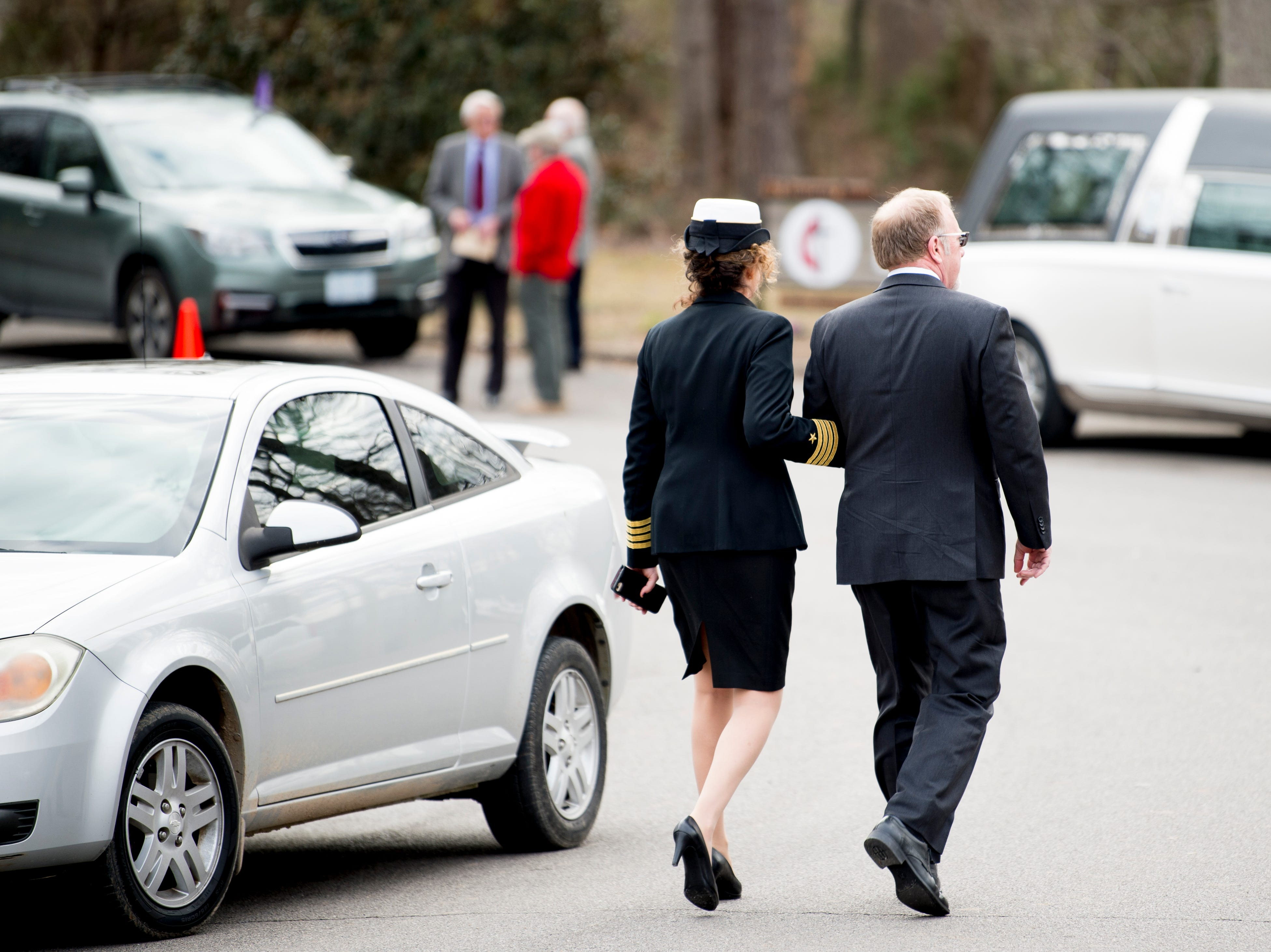 Attendees arrive to a funeral service for Rosemary Mariner, the US Navy's first female fighter pilot, at Norris United Methodist Church in Norris, Tennessee on Saturday, February 2, 2019. Mariner died January 24th of cancer.