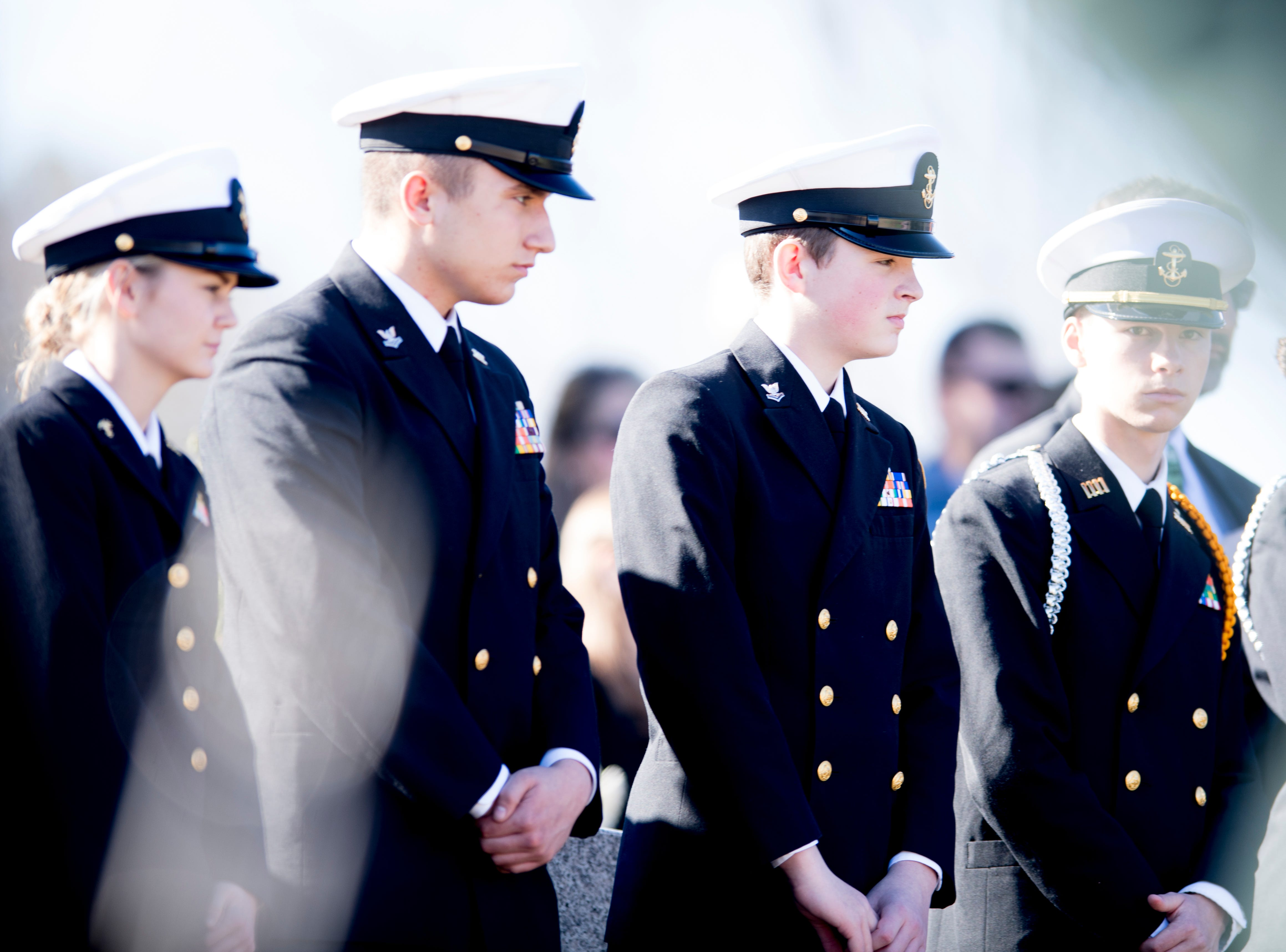 Navy cadets attend a graveside service for Rosemary Mariner, the US Navy's first female fighter pilot, at New Loyston Cemetery in Maynardville, Tennessee on Saturday, February 2, 2019. Mariner died January 24th of cancer.