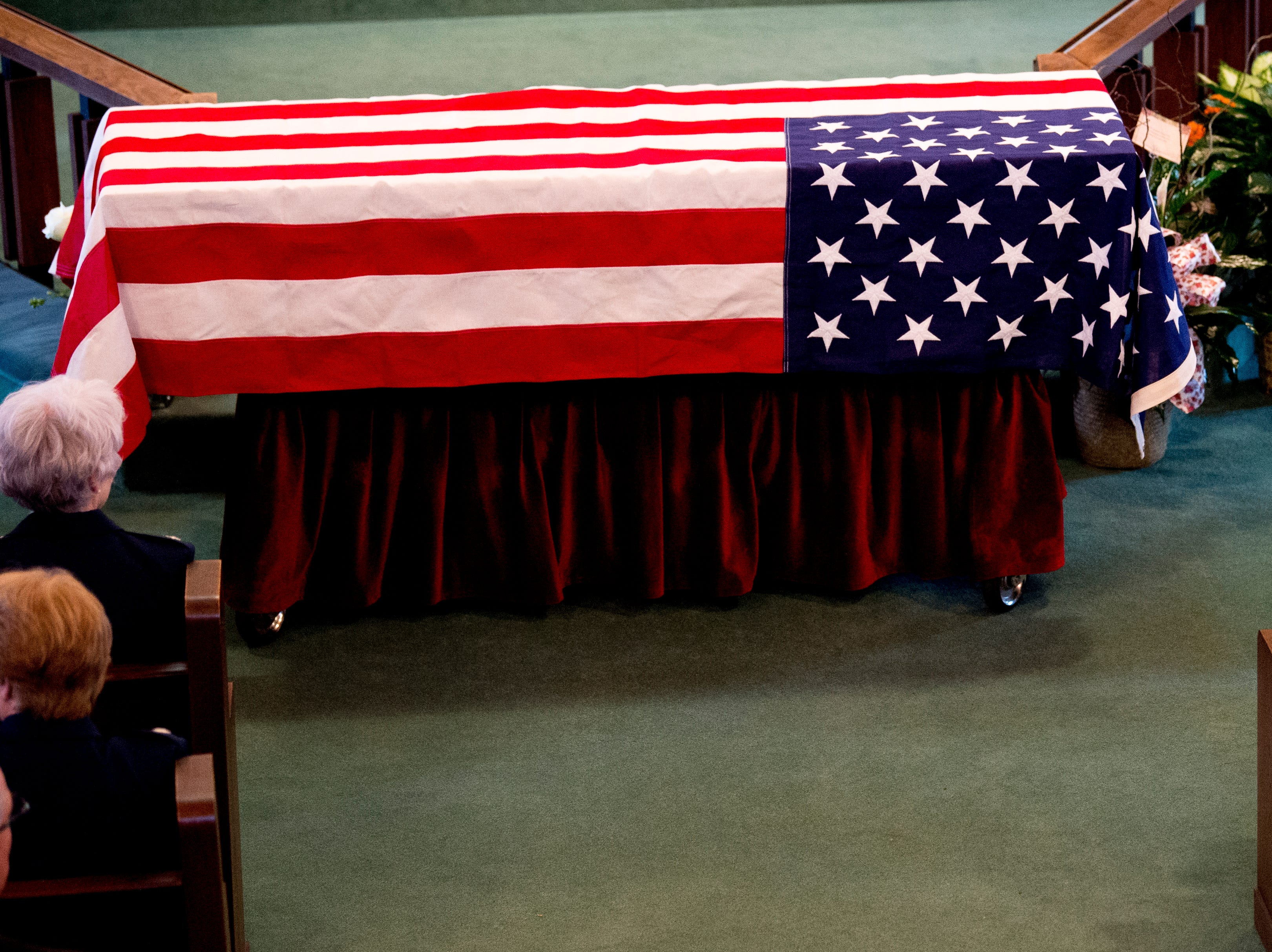The casket of Rosemary Mariner, the US Navy's first female fighter pilot, at Norris United Methodist Church in Norris, Tennessee on Saturday, February 2, 2019. Mariner died January 24th of cancer.