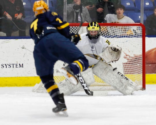 Hartland goalie Brett Tome stopped 16 of 17 shots in a 2-0 loss to Trenton.