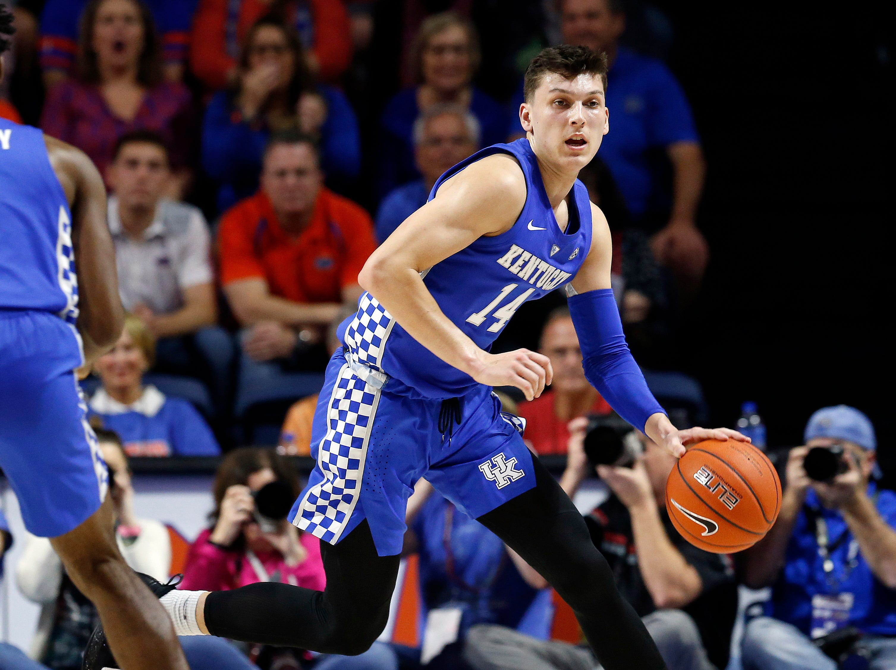 Kentucky Wildcats guard Tyler Herro (14) drives to the basket against the Florida Gators during the first half at Exactech Arena in Gainesville, Florida, on Saturday, Feb. 2, 2019.