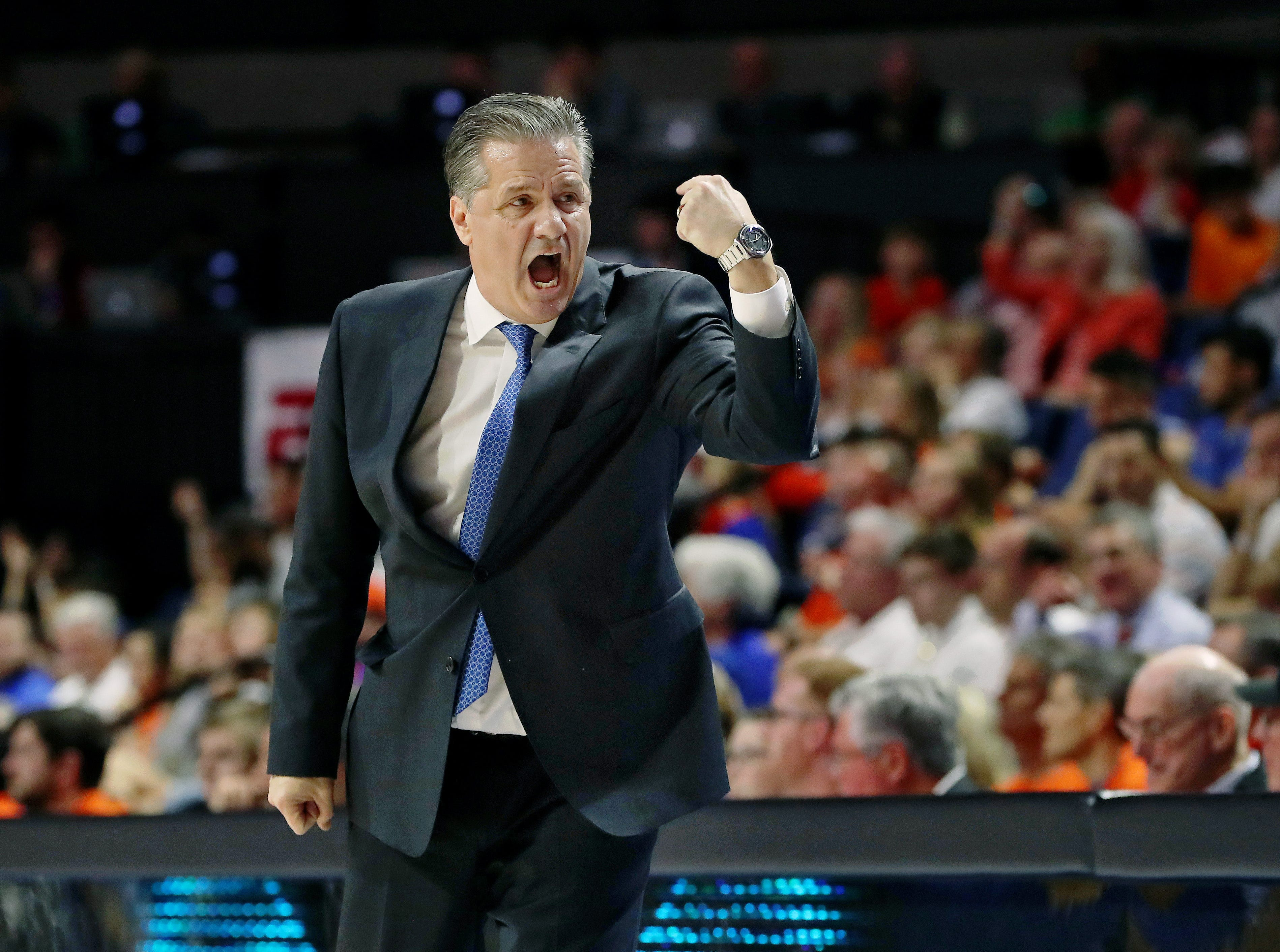 Kentucky Wildcats head coach John Calipari reacts against the Florida Gators during the first half at Exactech Arena in Gainesville, Florida, on Saturday, Feb. 2, 2019.