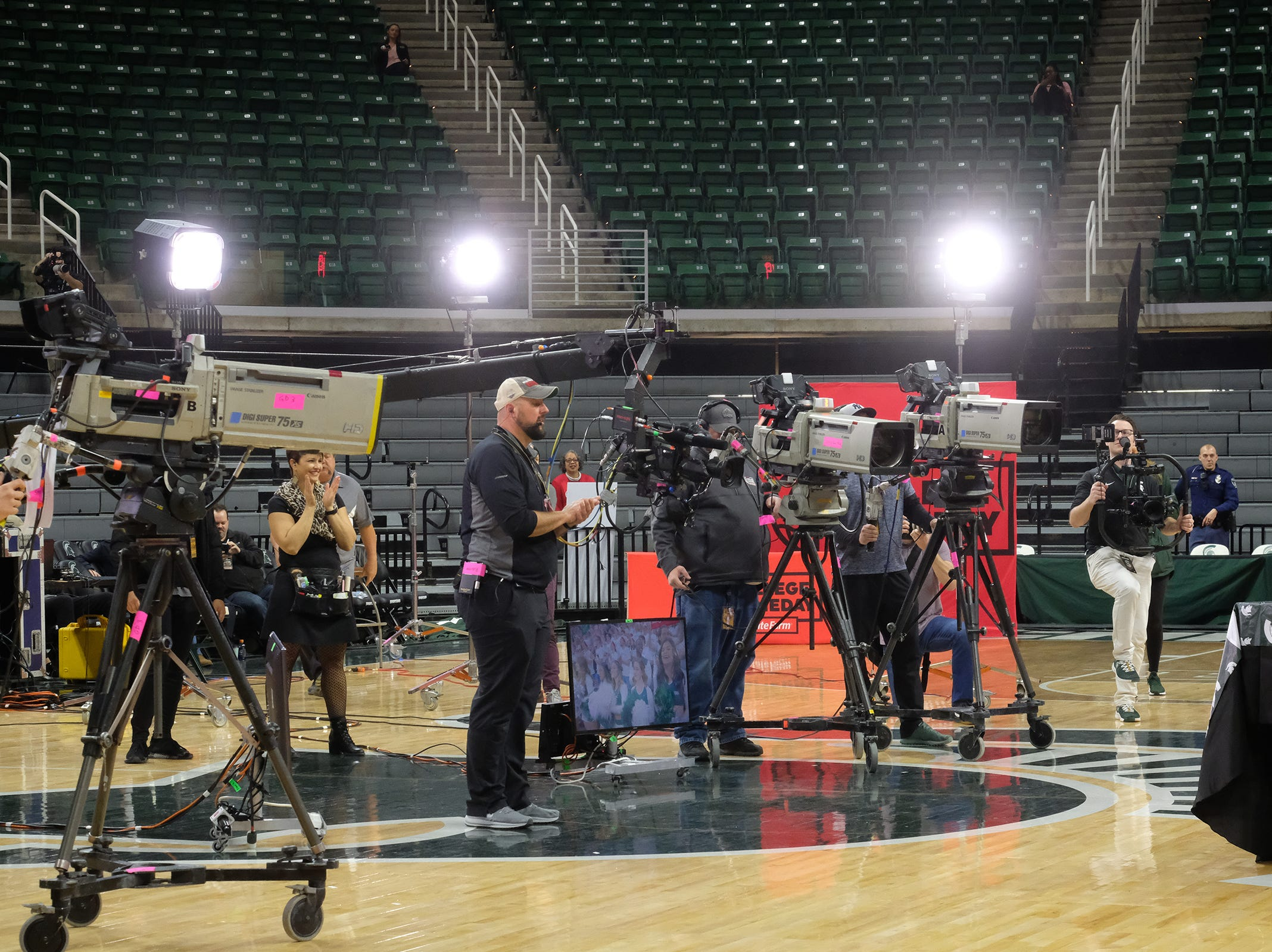 Video cameras are on the set of ESPN College GameDay in the Breslin Center Saturday, Feb. 2, 2019.