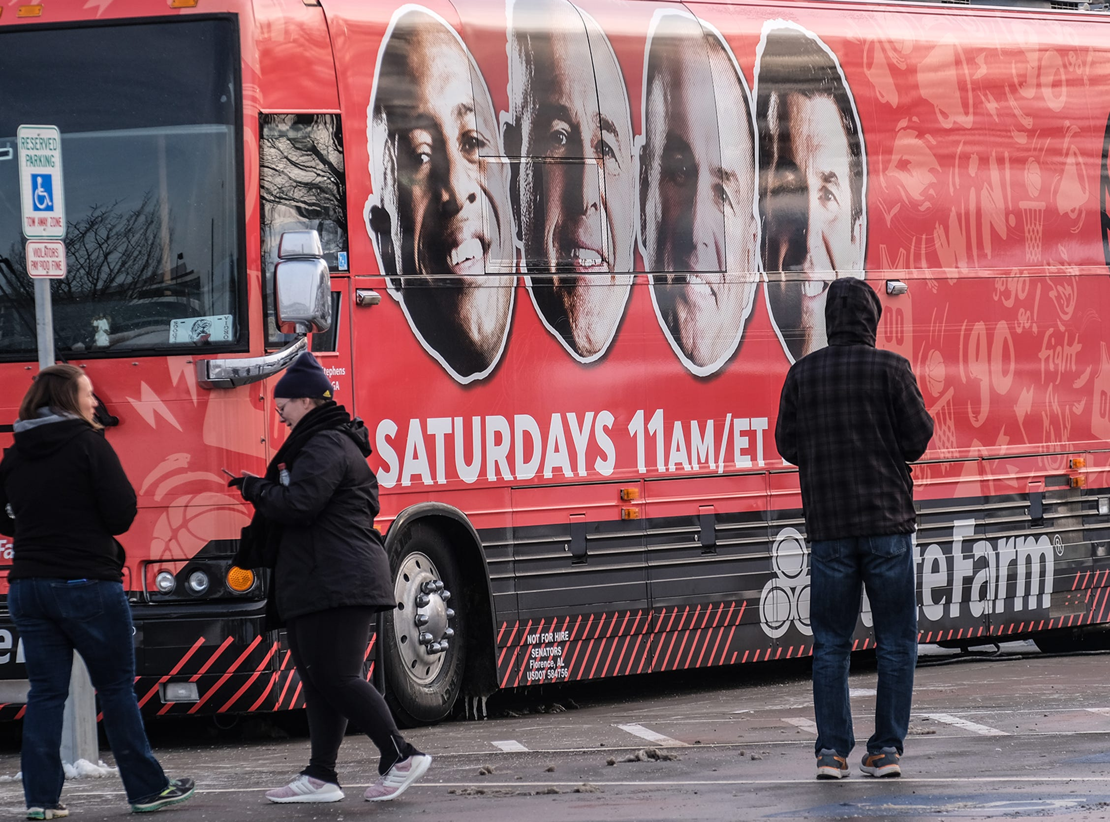 The ESPN College GameDay bus draws some attention outside the Breslin Center at MSU Saturday, Feb. 2, 2019.