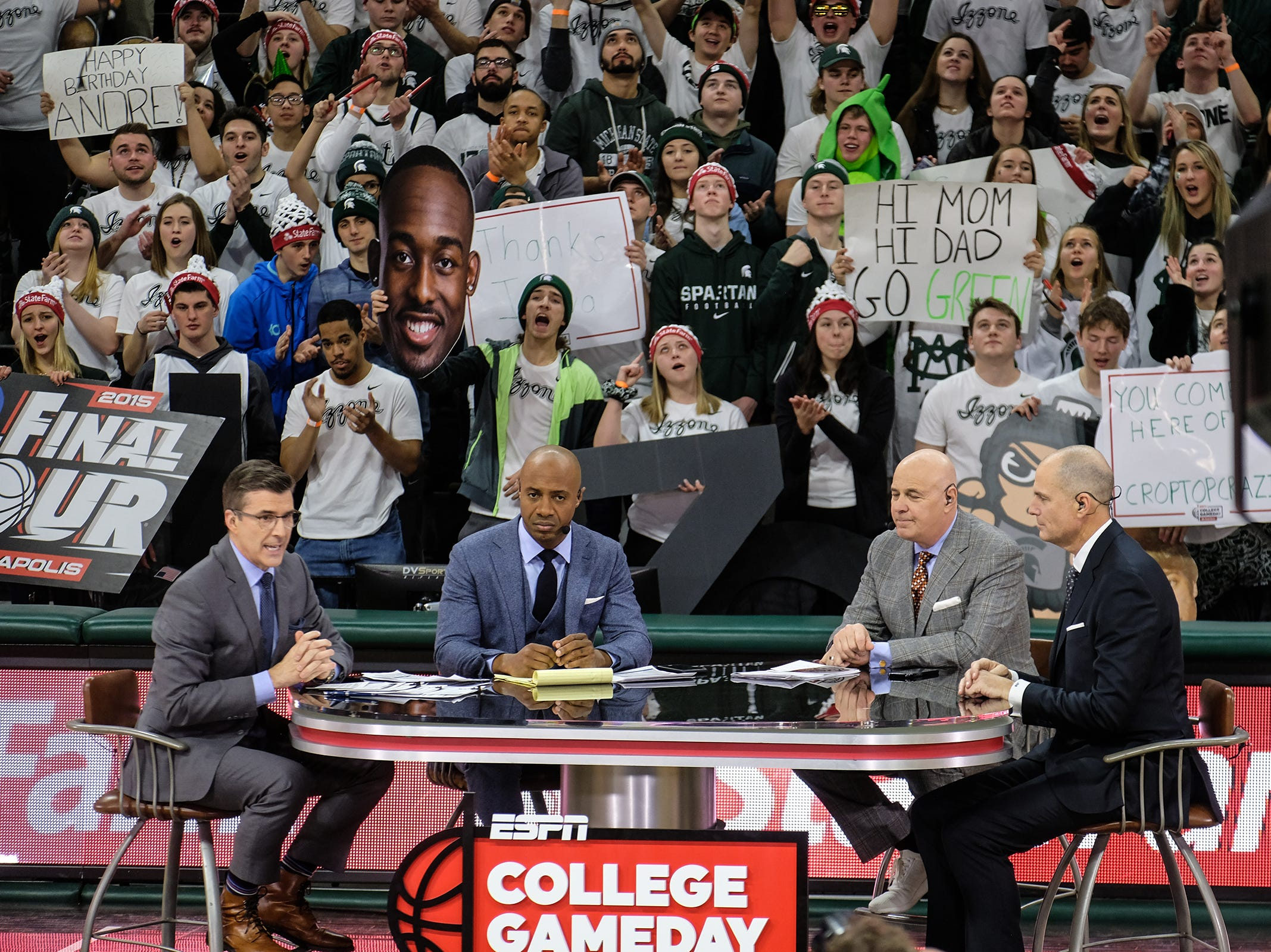 Hosts of the ESPN College GameDay broadcast are set up in Breslin Center at MSU Saturday, Feb. 2, 2019.