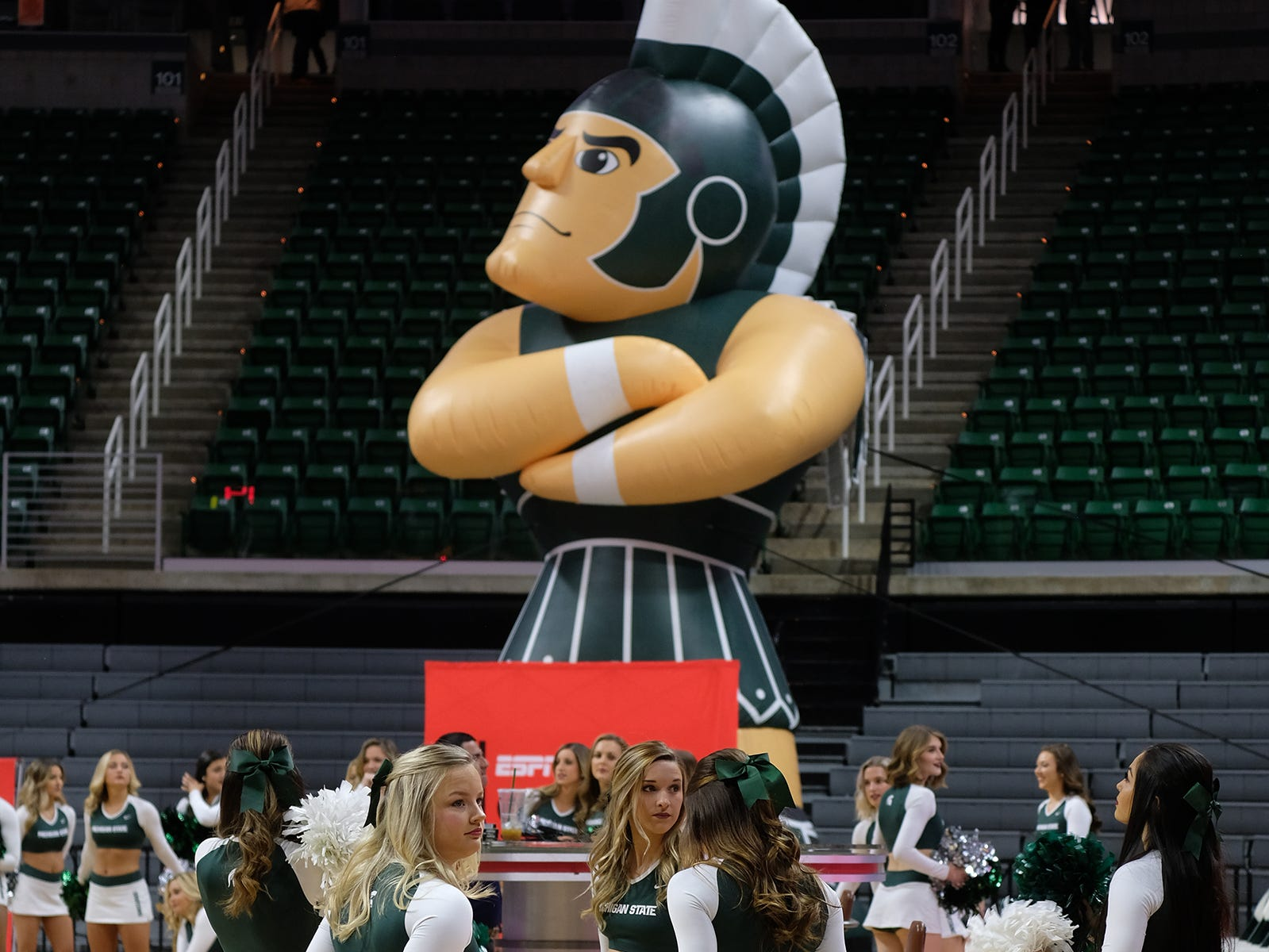 Dozens of cheerleaders are on hand for the ESPN College GameDay broadcast at the Breslin Center Saturday, Feb. 2, 2019.