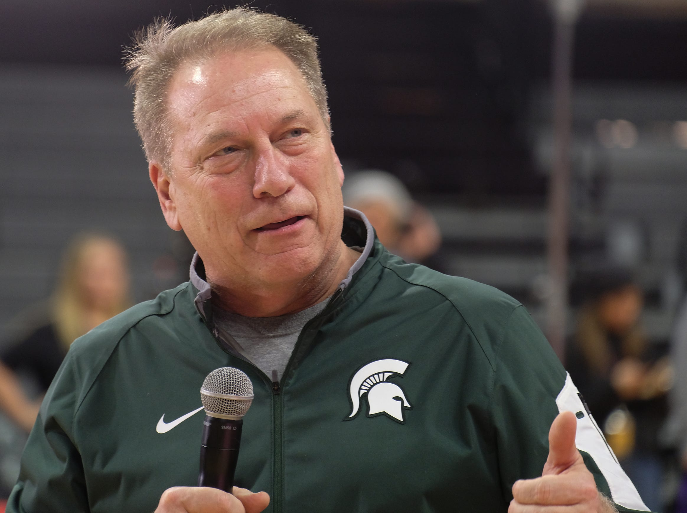 MSU Head Basketball Coach Tom Izzo speaks to the crowd during ESPN College GameDay at the Breslin Center Saturday, Feb. 2, 2019.