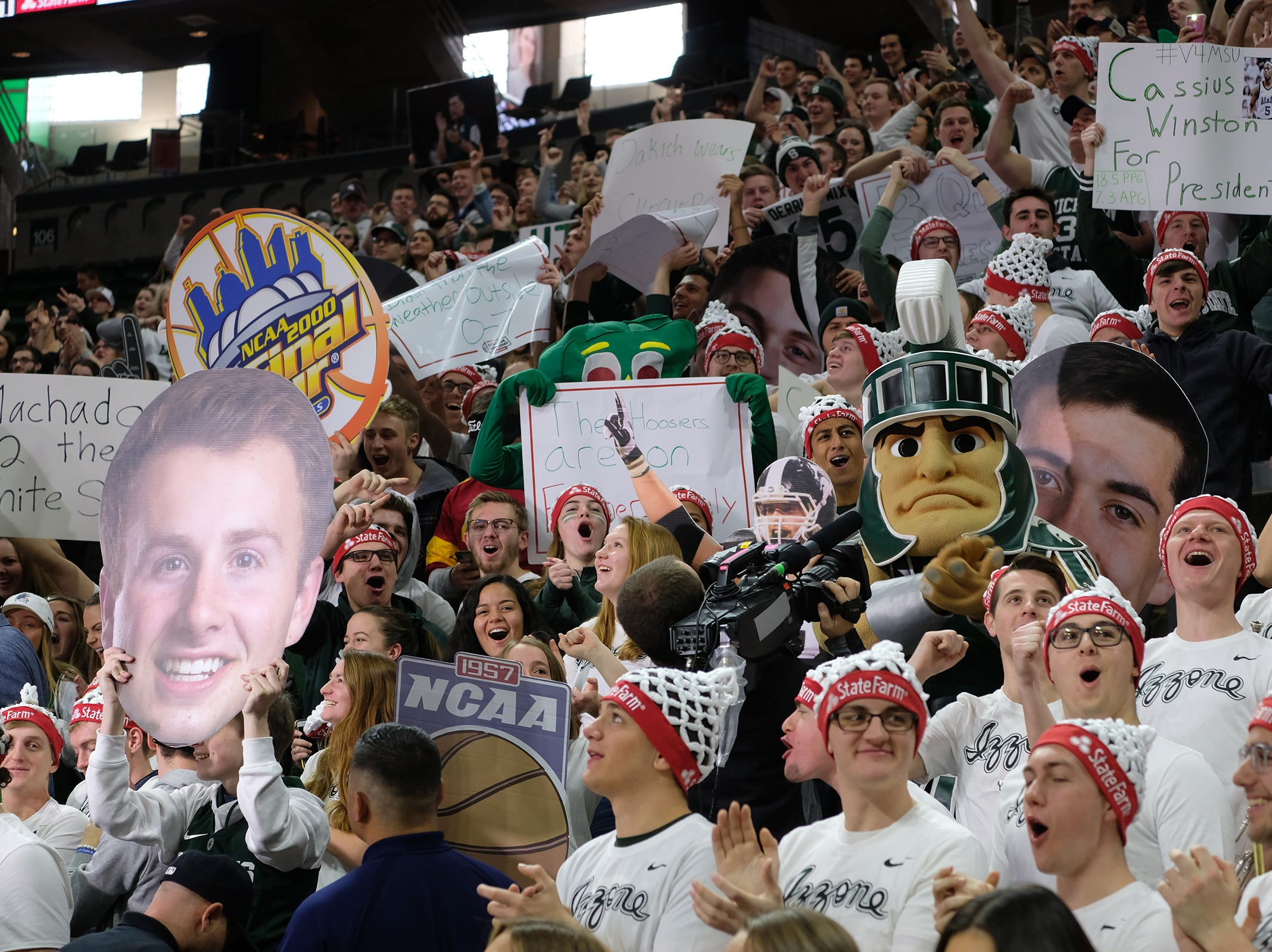 Spartan fans yell and cheer during the ESPN College GameDay broadcast at the Breslin Center Saturday, Feb. 2, 2019.