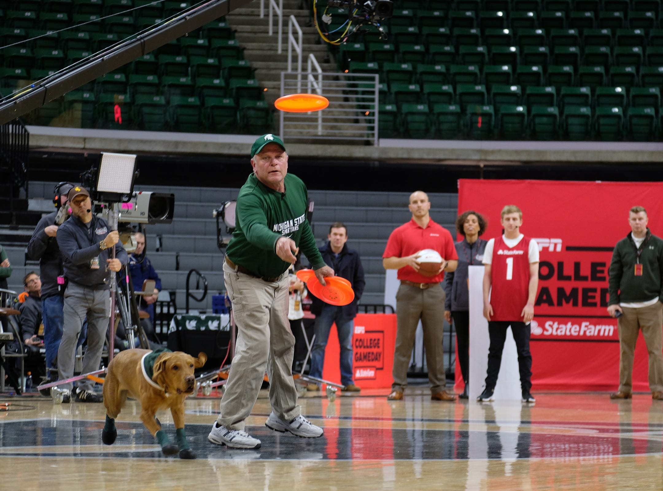 Zeke the Wonder Dog performs at the ESPN College GameDay broadcast at the Breslin Center Saturday, Feb. 2, 2019.