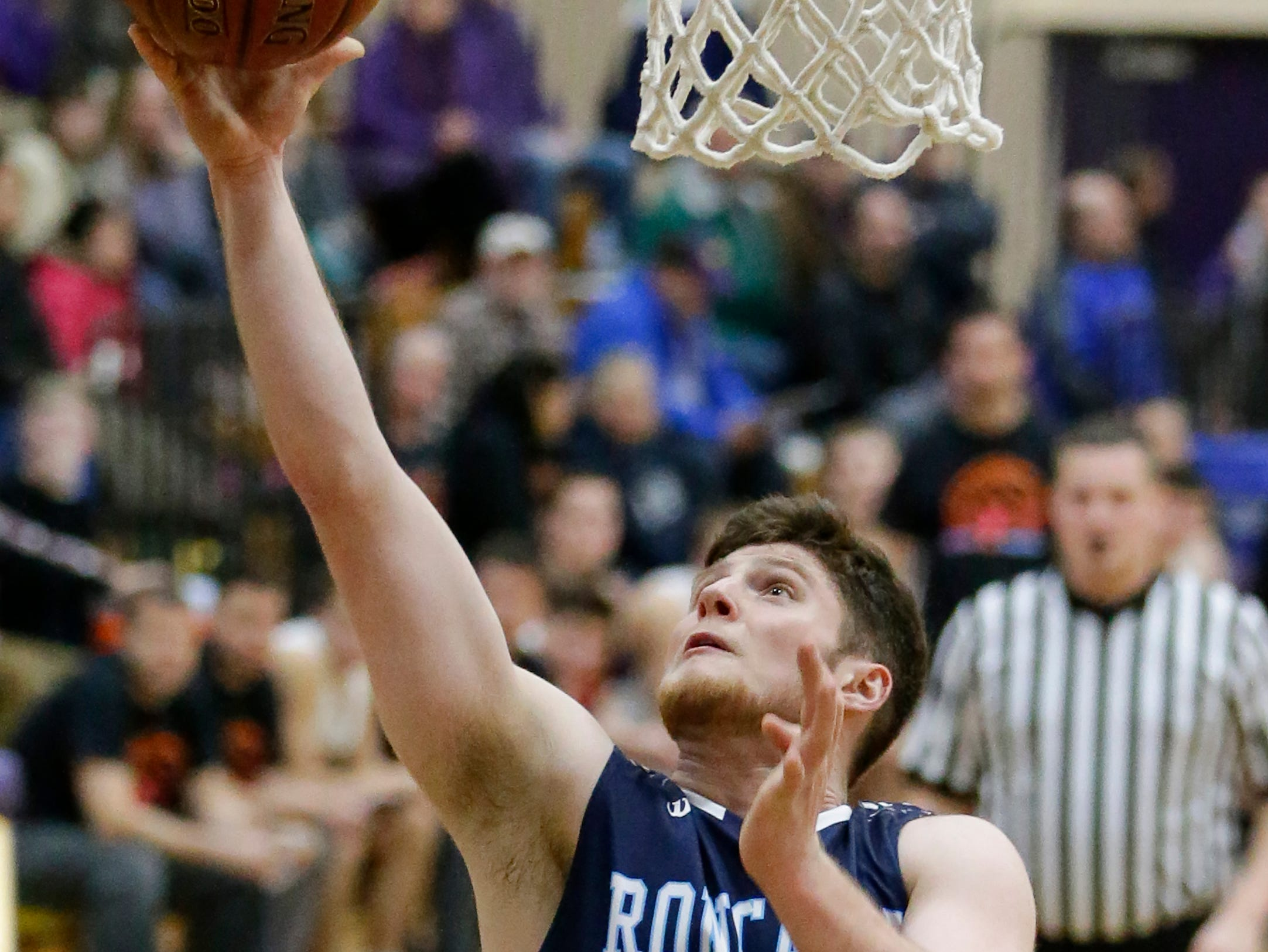 Roncalli's David Heinzen (33) shoots against Two Rivers at Two Rivers High School Friday, February 1, 2019, in Two Rivers, Wis. Joshua Clark/USA TODAY NETWORK-Wisconsin