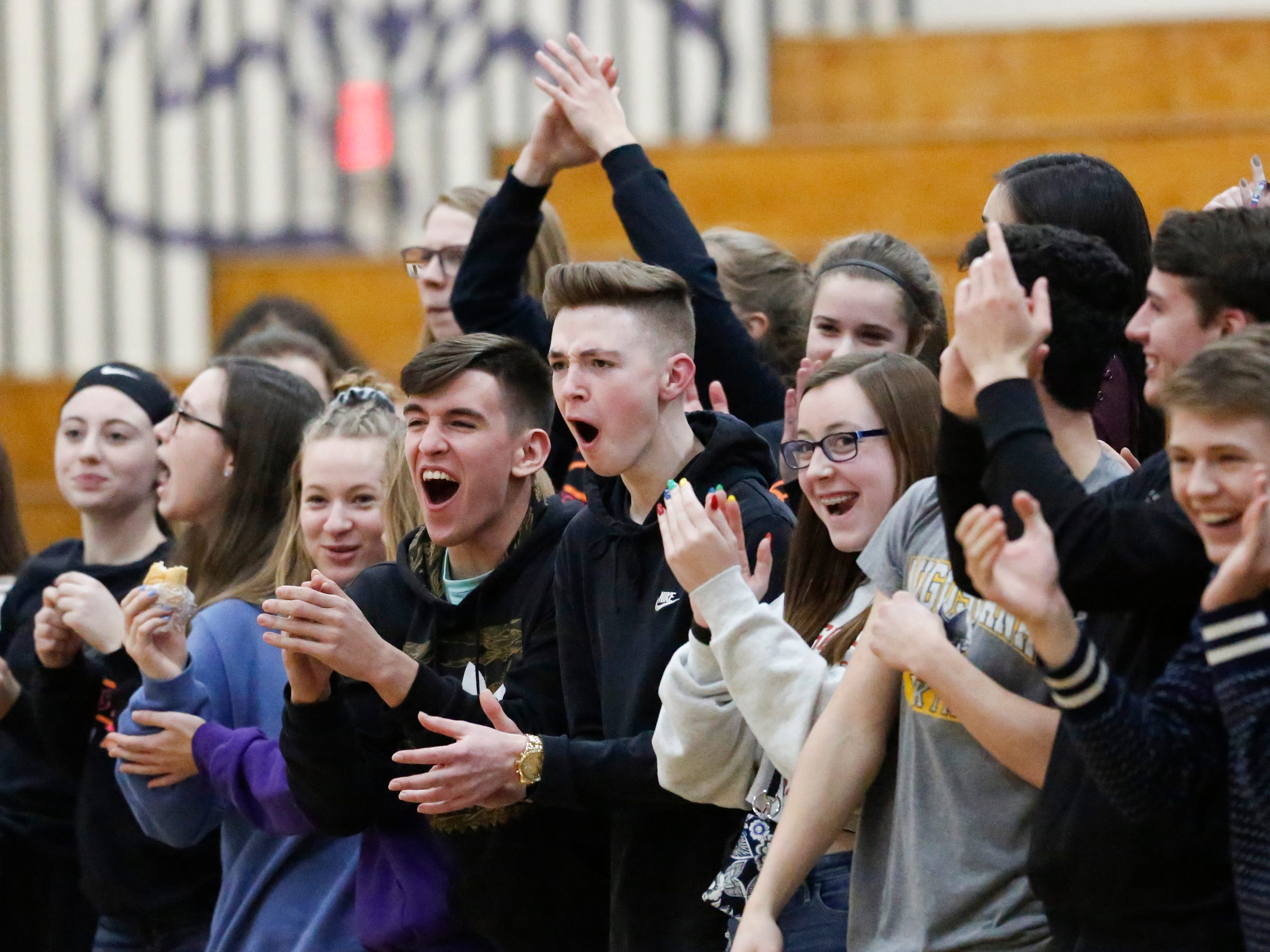Two Rivers' student section cheers on their team against Roncalli at Two Rivers High School Friday, February 1, 2019, in Two Rivers, Wis. Joshua Clark/USA TODAY NETWORK-Wisconsin