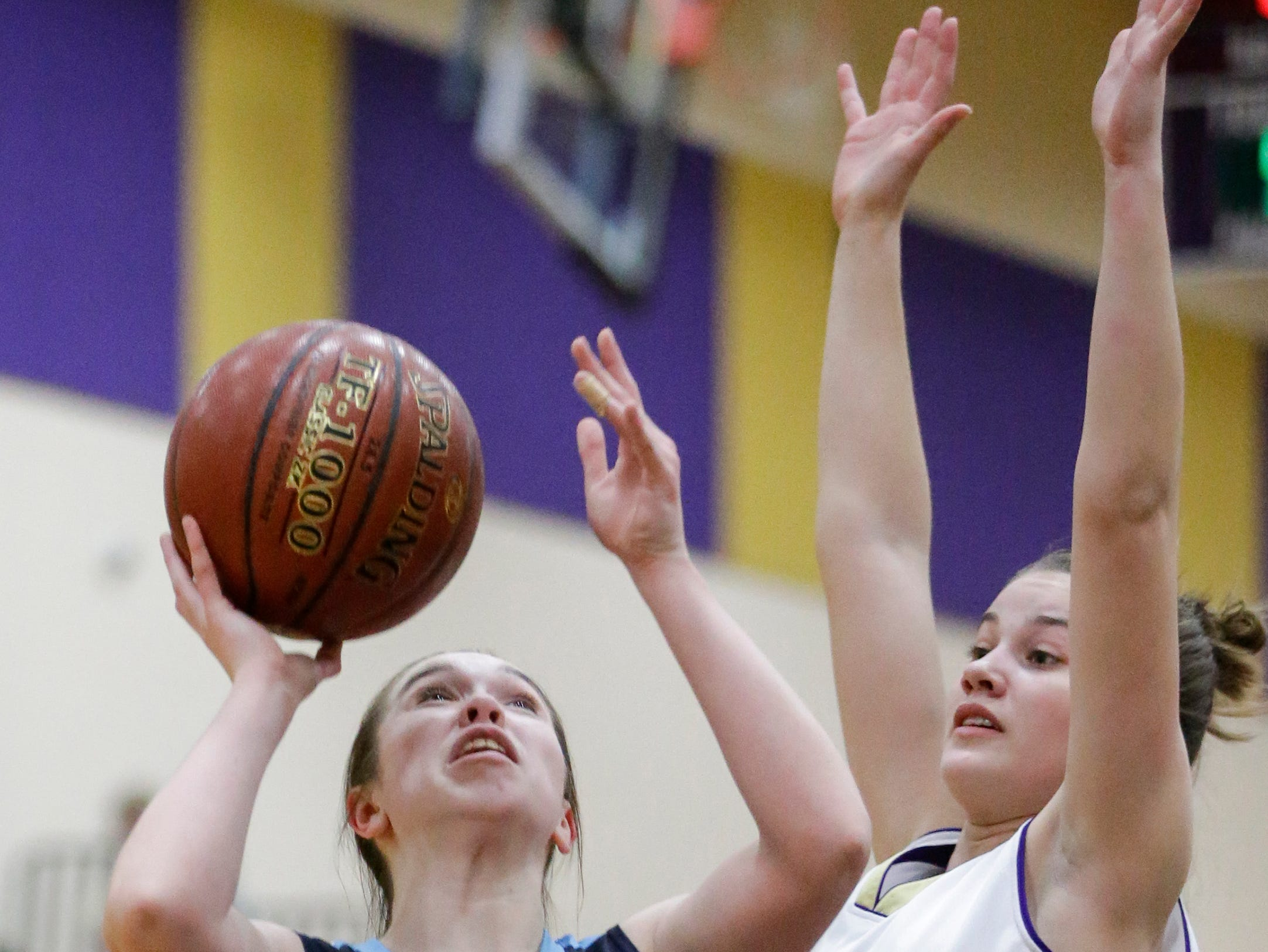 Roncalli's Maya Lusk (3) shoots against Two Rivers at Two Rivers High School Friday, February 1, 2019, in Two Rivers, Wis. Joshua Clark/USA TODAY NETWORK-Wisconsin