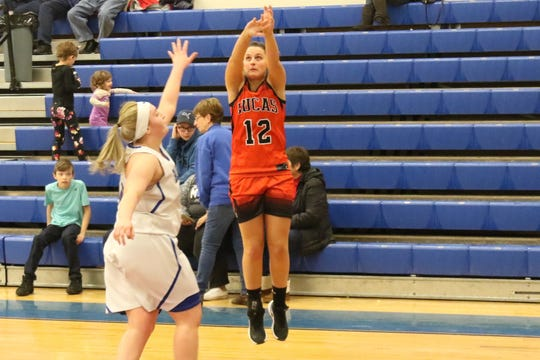 Lucas junior Morgan Spitler makes her 74th-career 3-pointer to become the all-time leader in Lucas High School girls basketball history on Saturday afternoon.