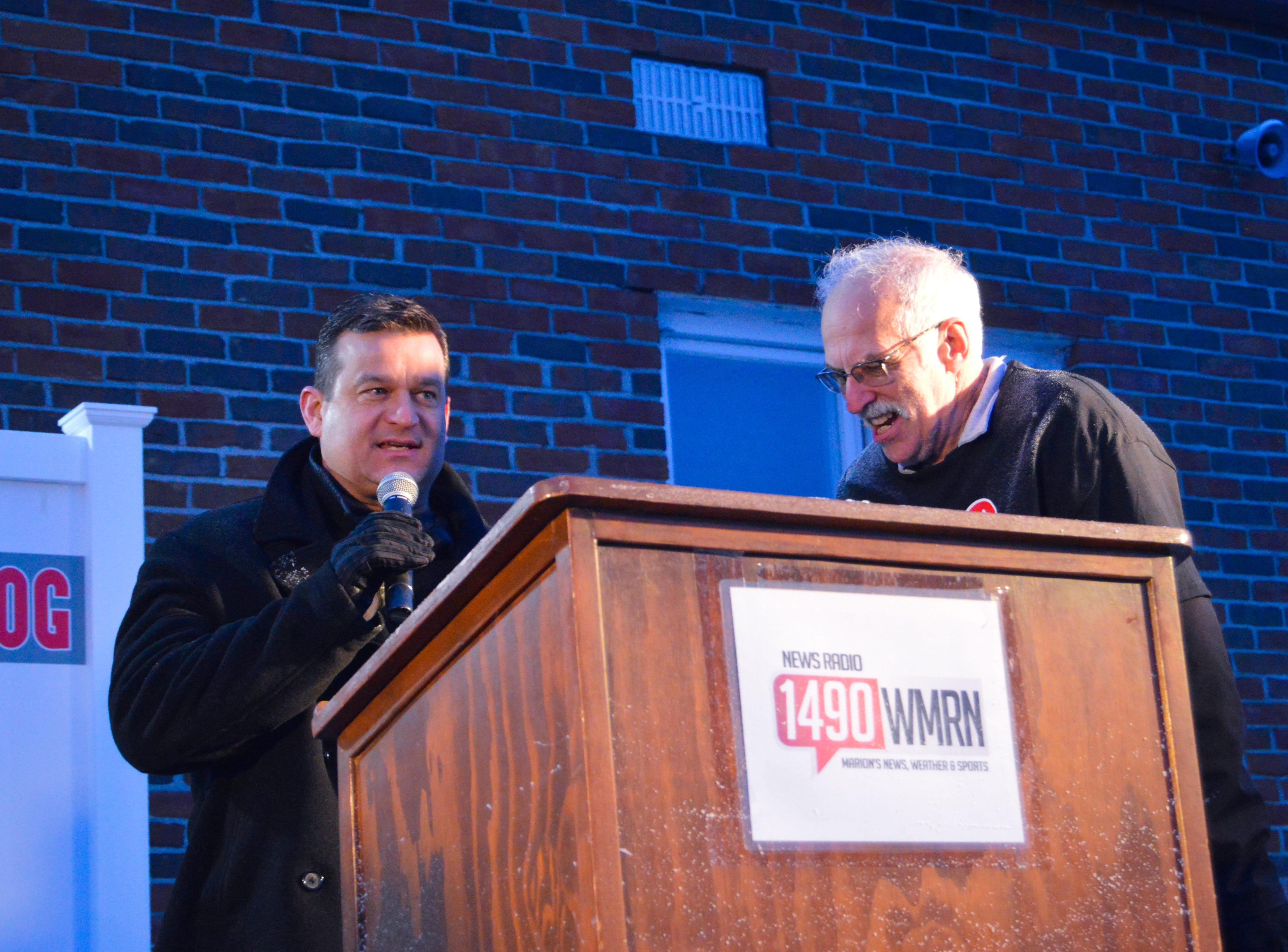 Marion Mayor Scott Schertzer, left, and WMRN's Jeff Ruth at Buckeye Chuck's 2019 spring prognostication.