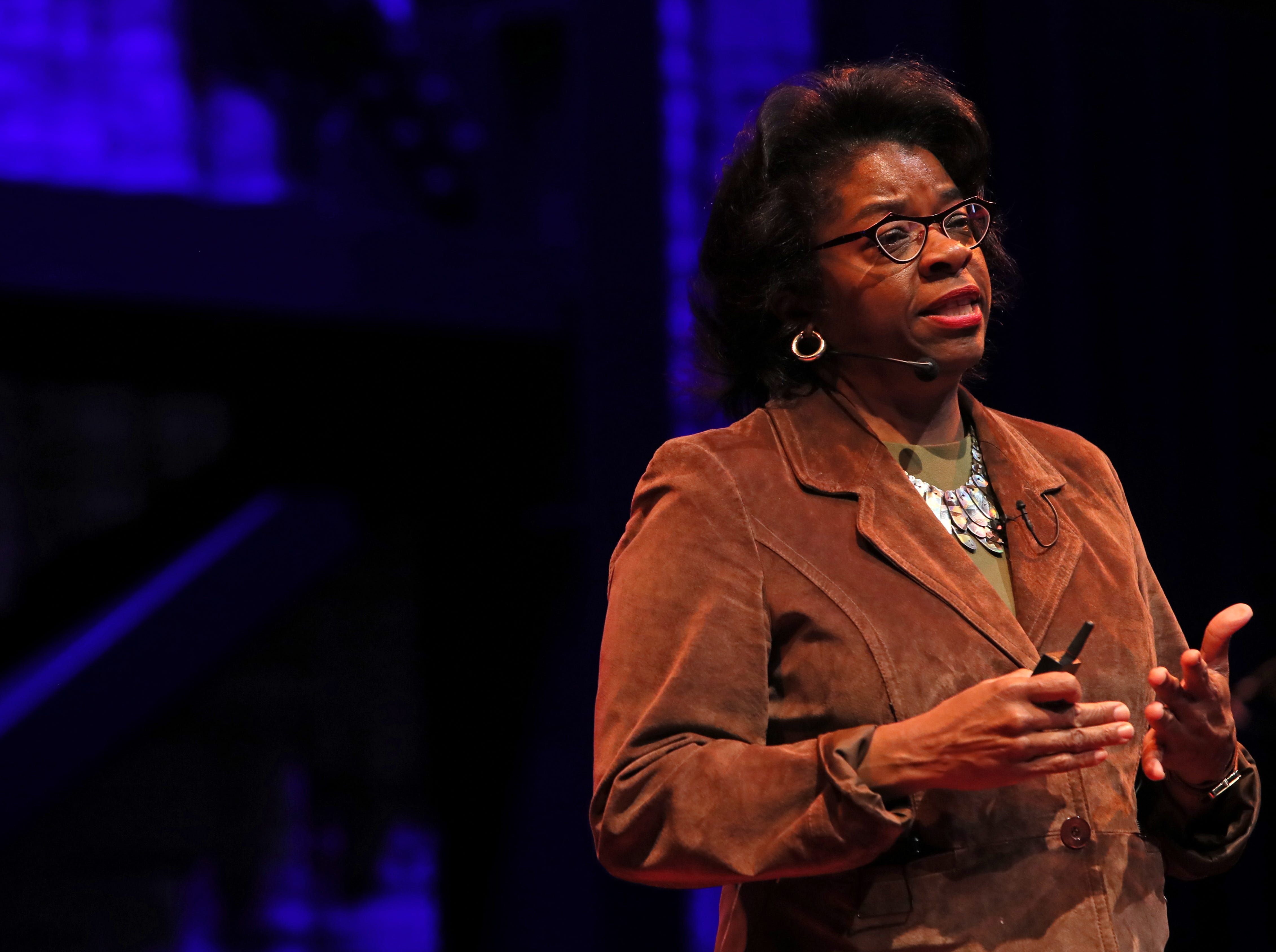Daphne McFerren speaks about the future automation of society during a TEDx Memphis event at the Crosstown Arts Theatre Saturday, Feb. 2, 2019.