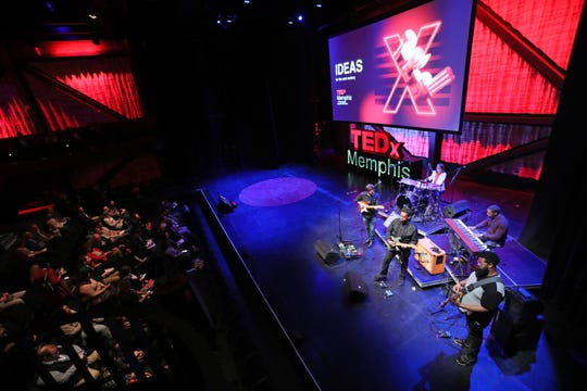 The Faculty plays a musical performance for attendees at the TEDx Memphis event at Crosstown Arts Theatre Saturday, Feb. 2, 2019.