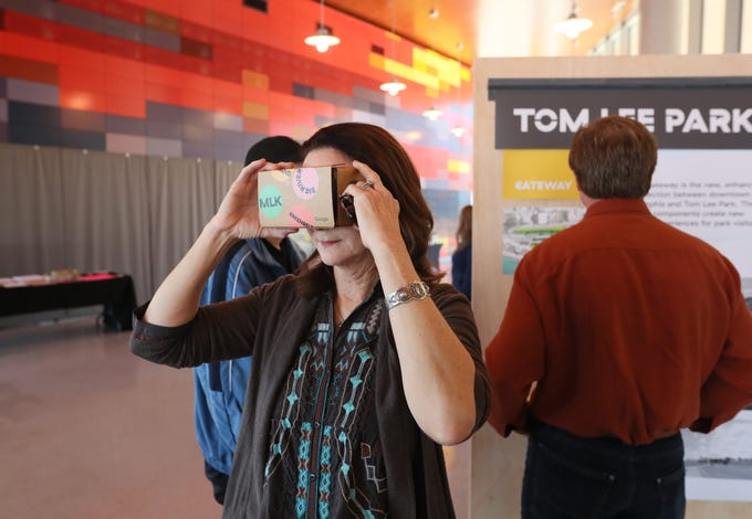 Linda Bradford of Memphis views a virtual reality rendering of the plans for the future of Tom Lee Park during a public showcase at the Beale Street Landing on Saturday, Feb. 2, 2019.