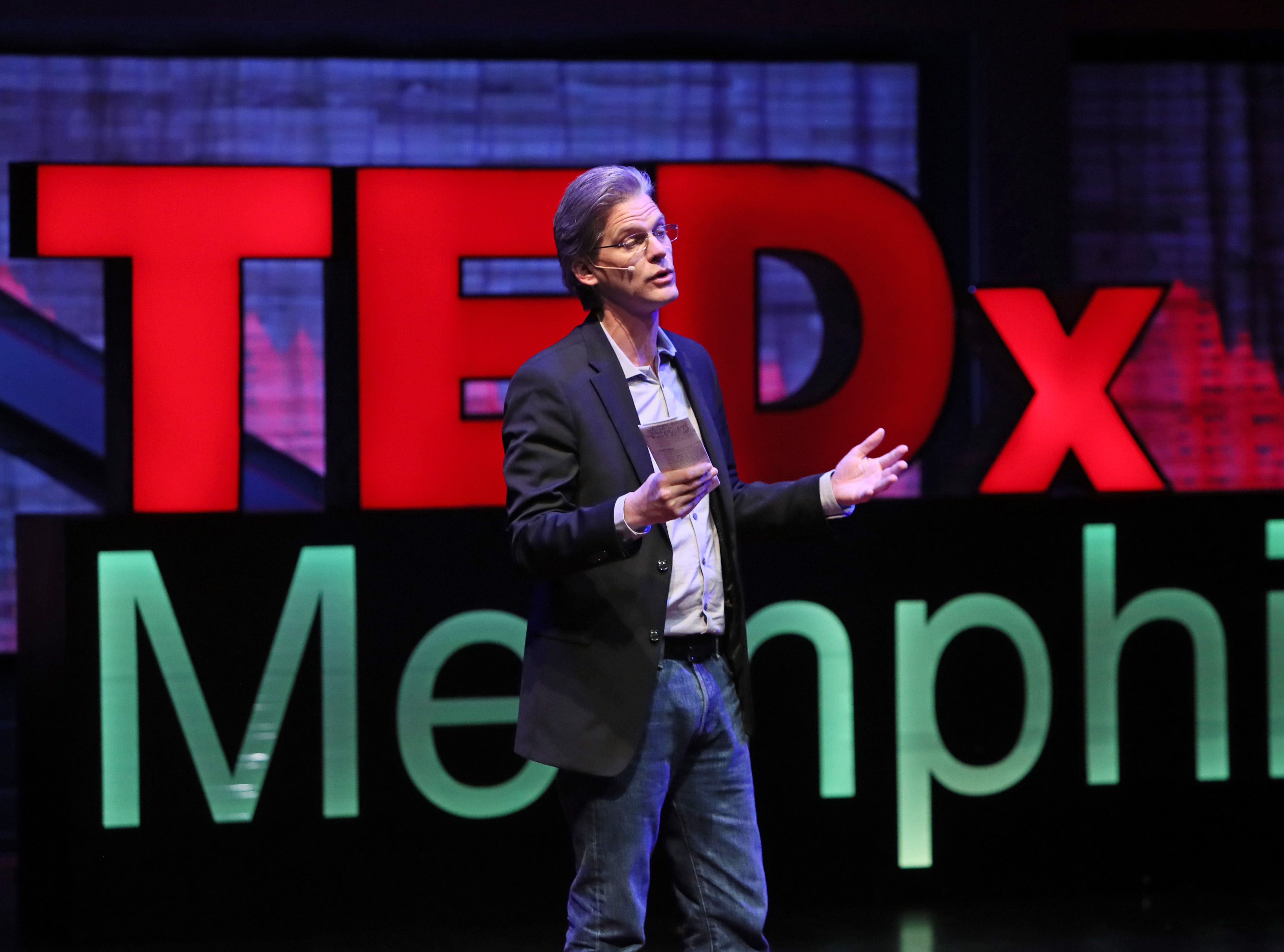speaks during a TEDx Memphis event at the Crosstown Arts Theatre Saturday, Feb. 2, 2019.