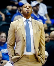 Memphis head coach Penny Hardaway collects his thoughts during a 84-78 loss to USF in Tampa, Saturday, February 2, 2019.