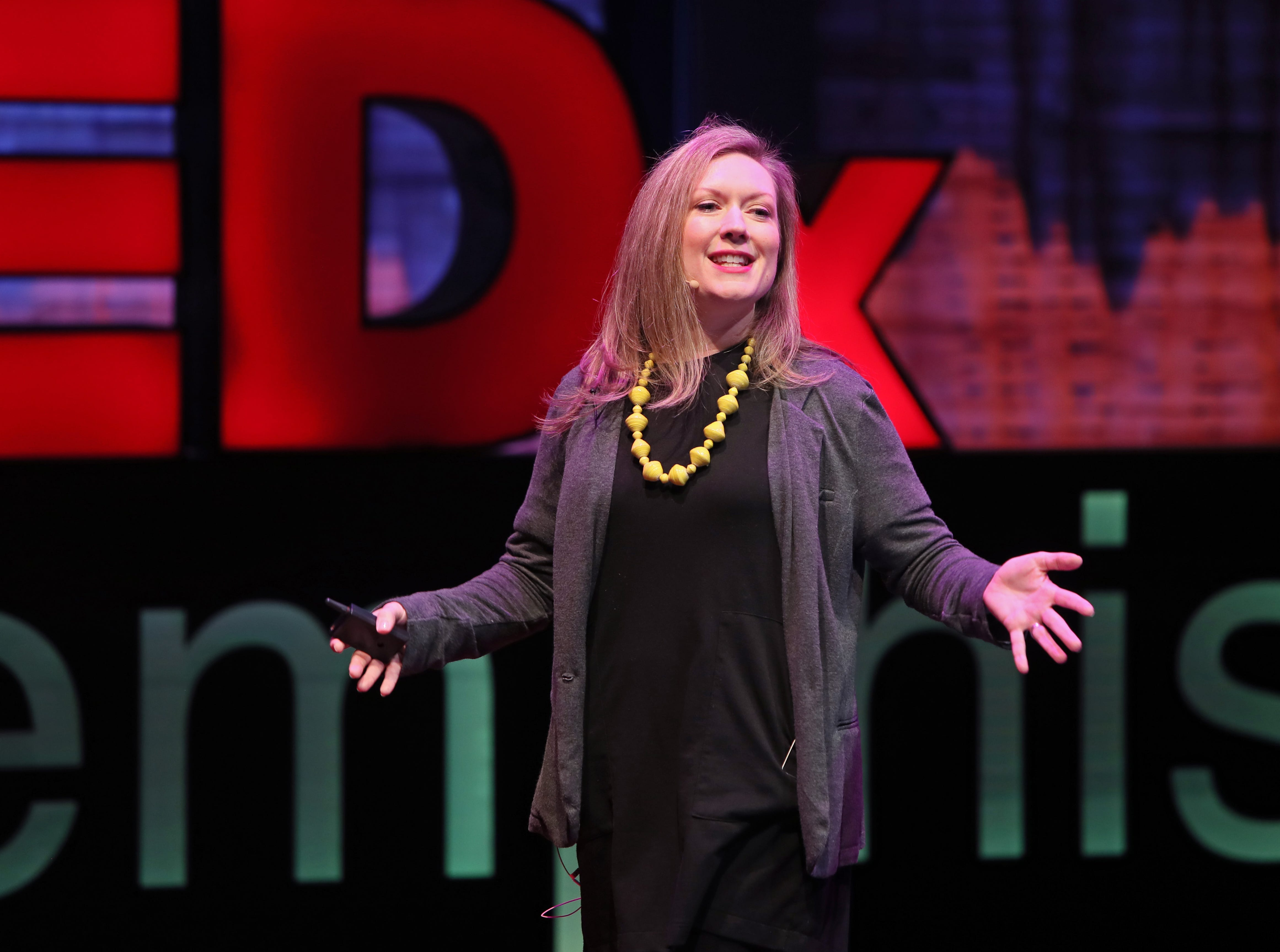 Amy Stack speaks about the generation in between the Millennials and Generation X during a TEDx Memphis event at the Crosstown Arts Theatre Saturday, Feb. 2, 2019.