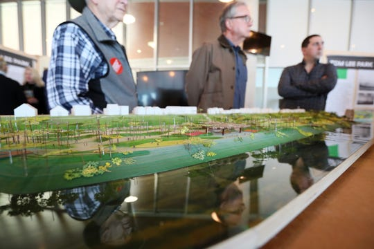 Plans for the future of Tom Lee Park are displayed for the public at the Beale Street Landing on Saturday, Feb. 2, 2019.