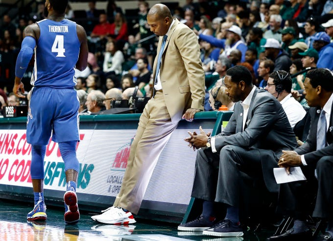 Memphis head coach Penny Hardaway collects his thoughts during the final minutes of a 84-78 loss to USF in Tampa, Saturday, February 2, 2019.